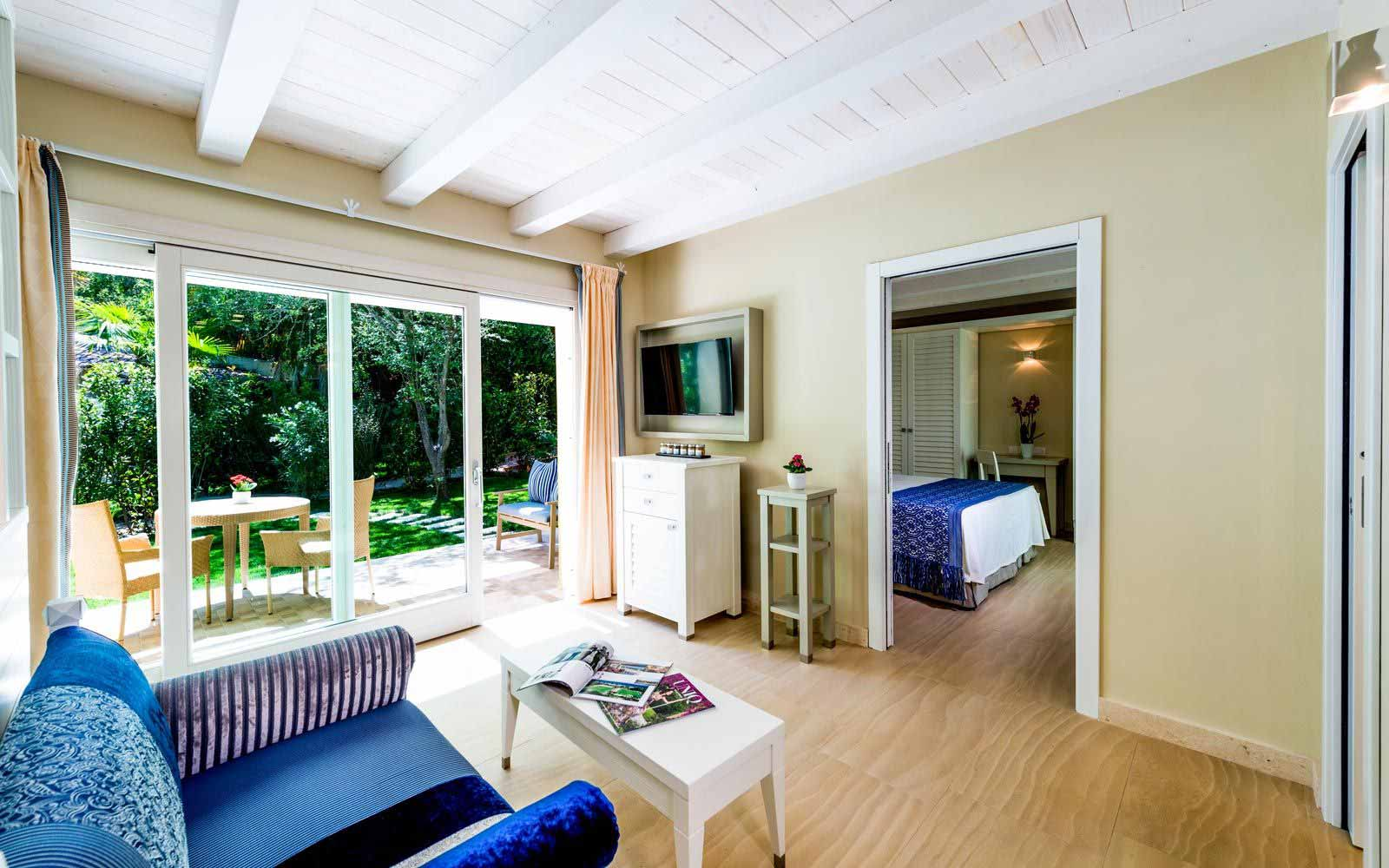 Bouganville Deluxe Family Bungalow interior at the Forte Village Resort