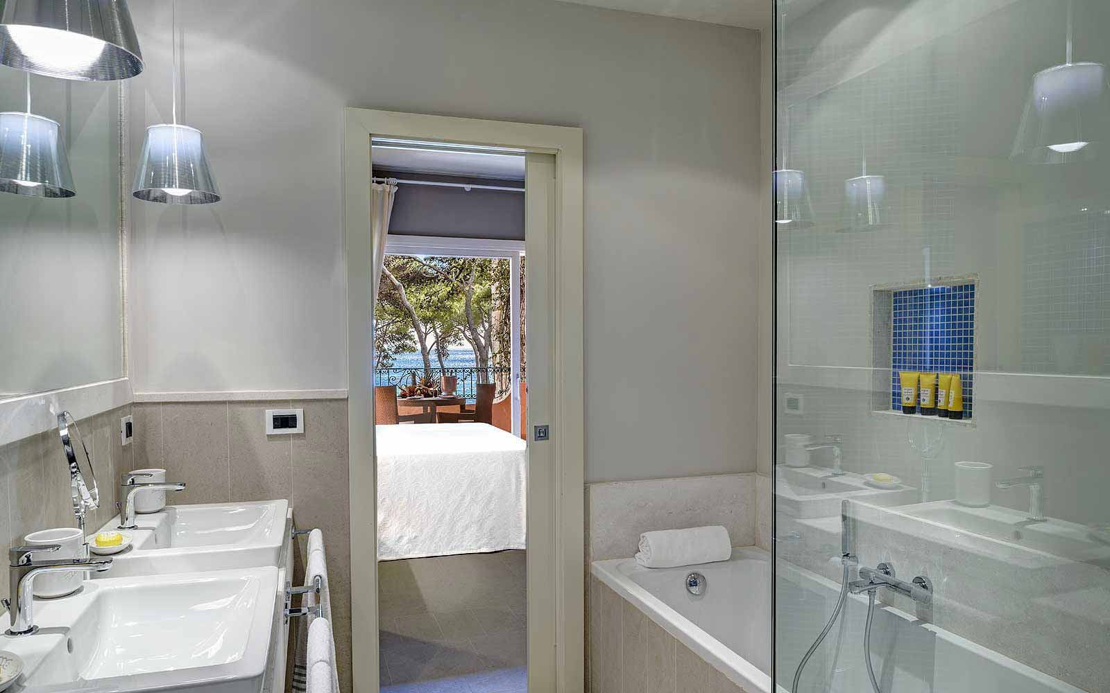 Executive mare bathroom at Forte Village Hotel Castello