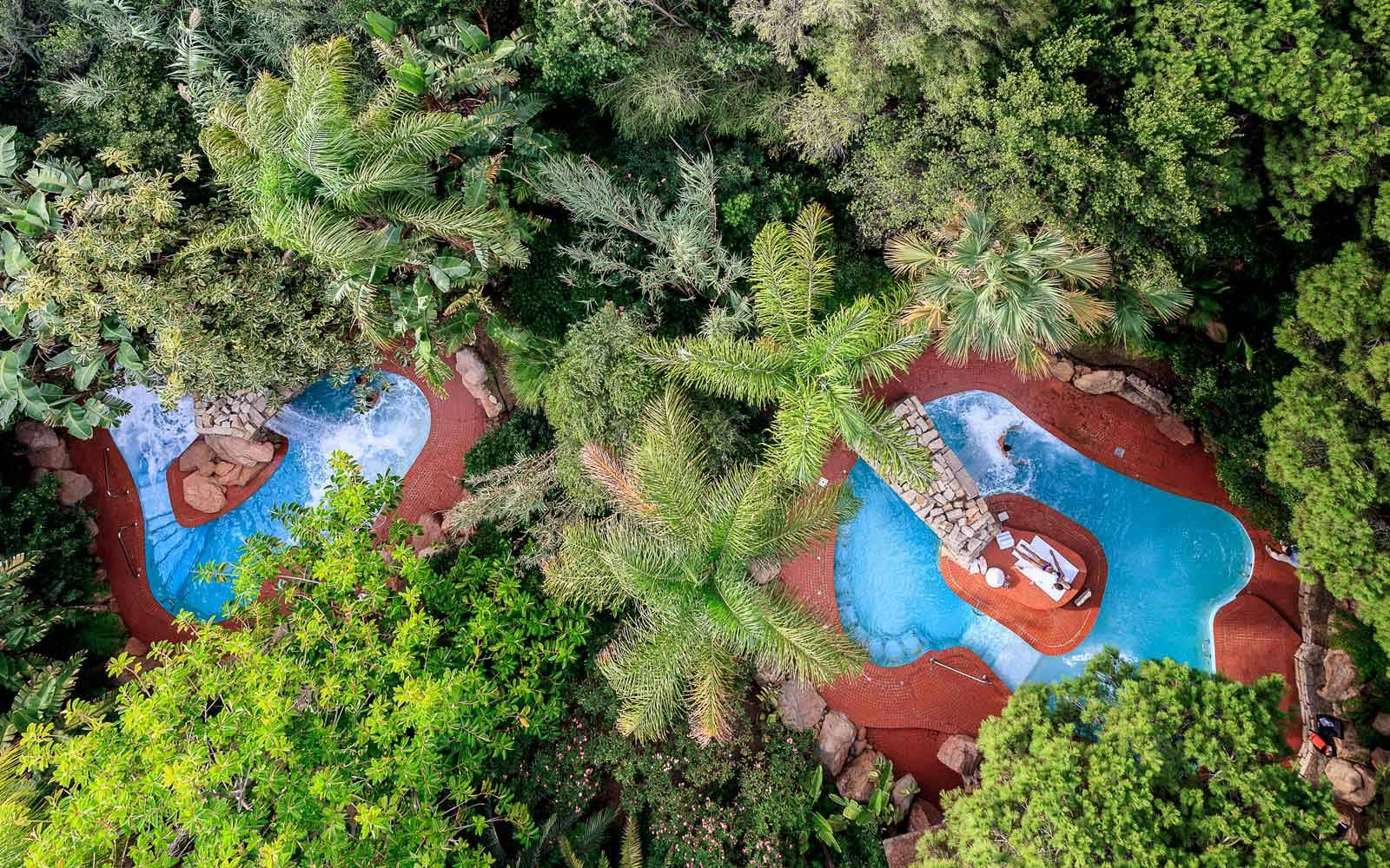 Acquaforte Spa pools aerial view at Forte Village Resort