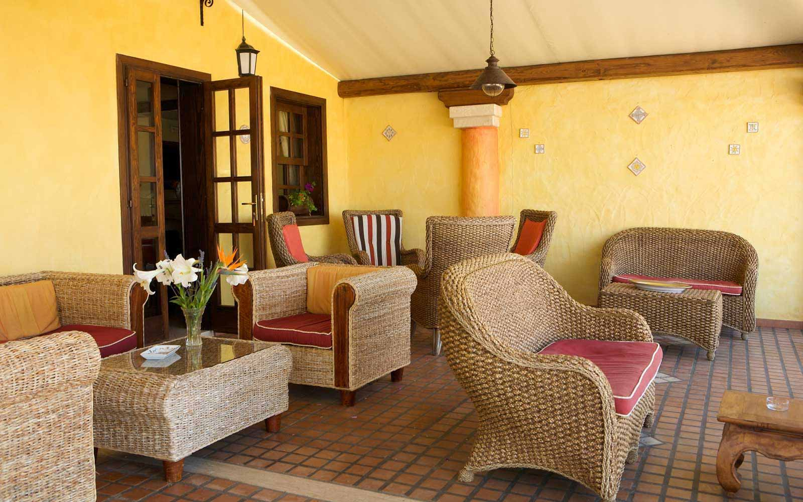 Seating at the front of the Is Benas Country Lodge