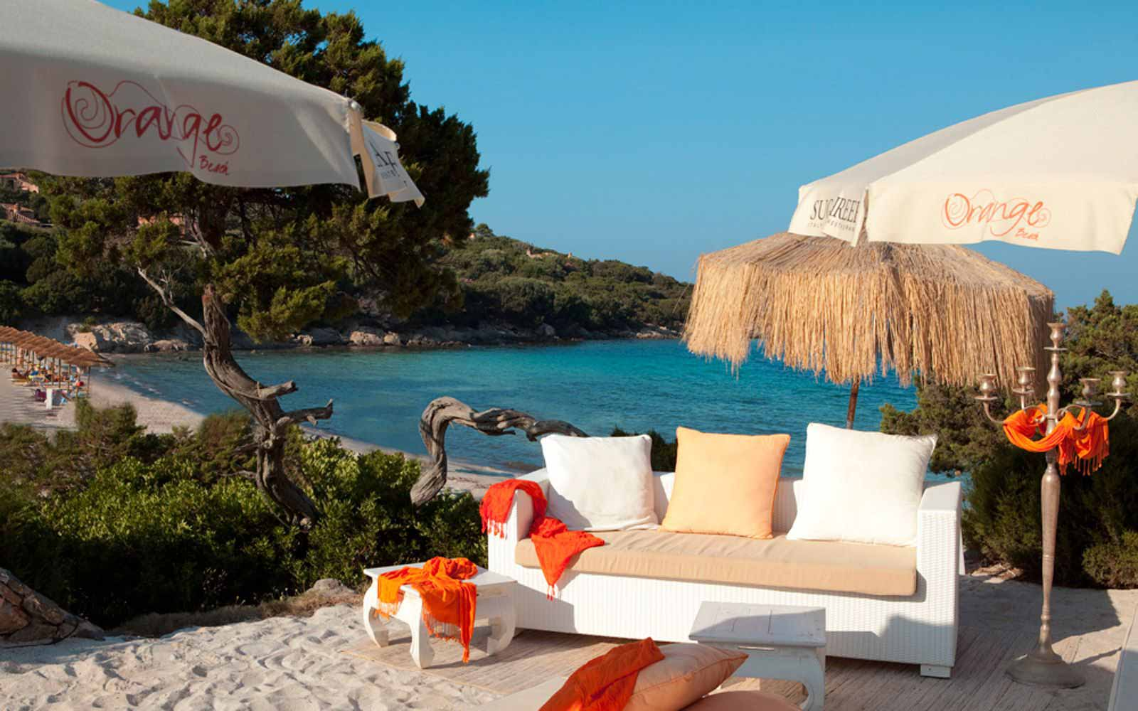 Orange beach at Grand Hotel in Porto Cervo