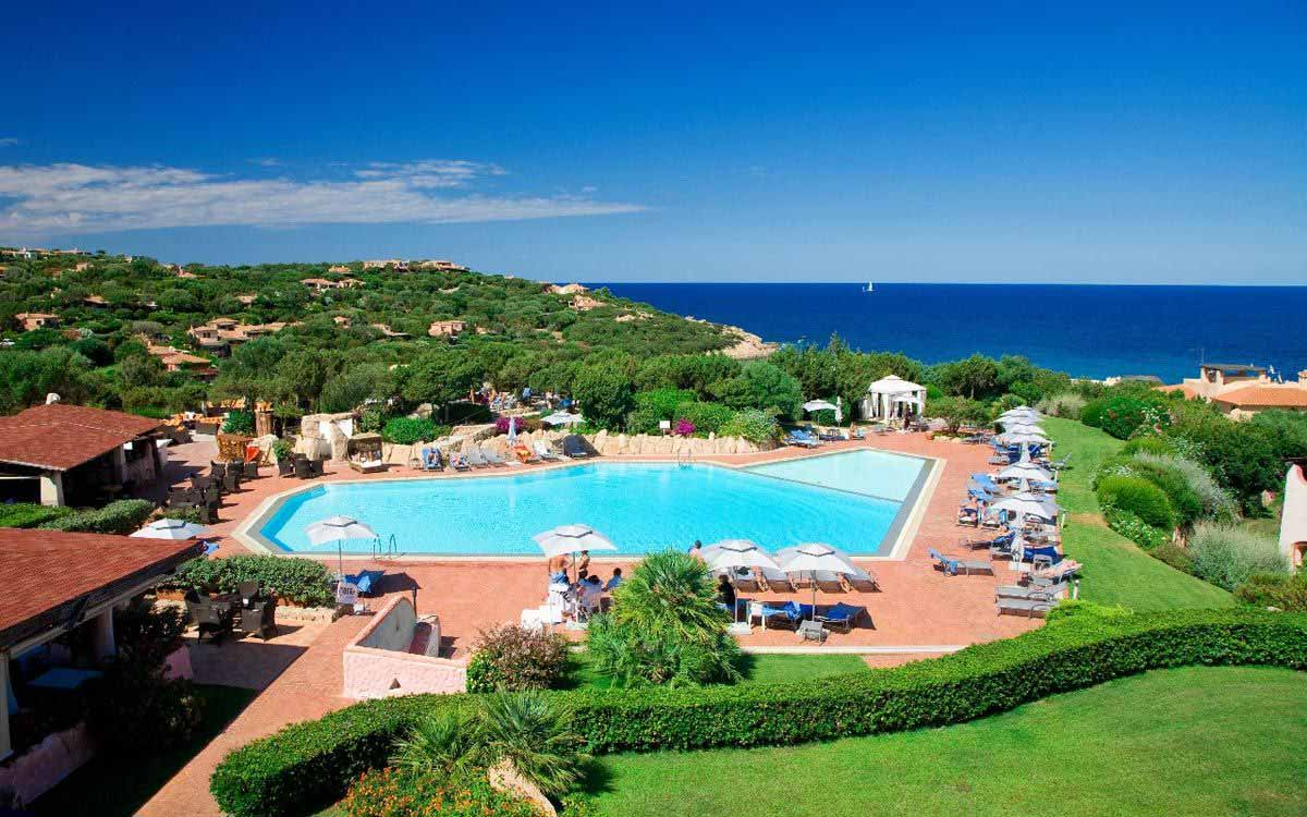 Panoramic view of Grand Hotel in Porto Cervo