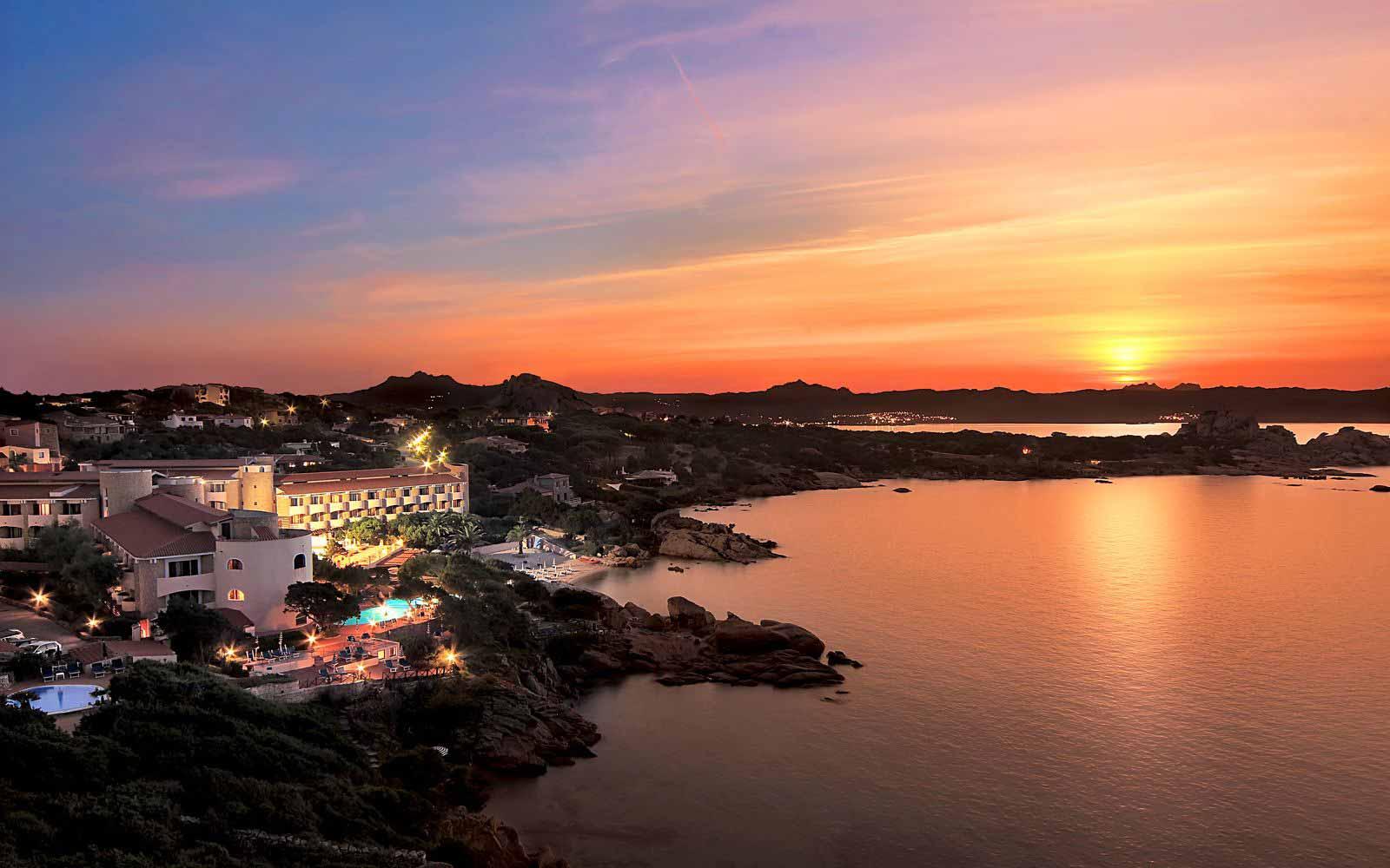 Sunset over Grand Hotel Smeraldo Beach