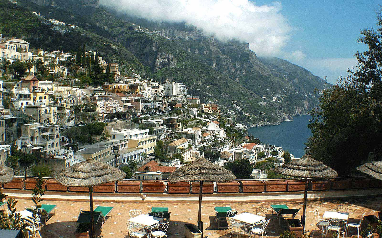 Views over Positano from the terrace at Posa Posa