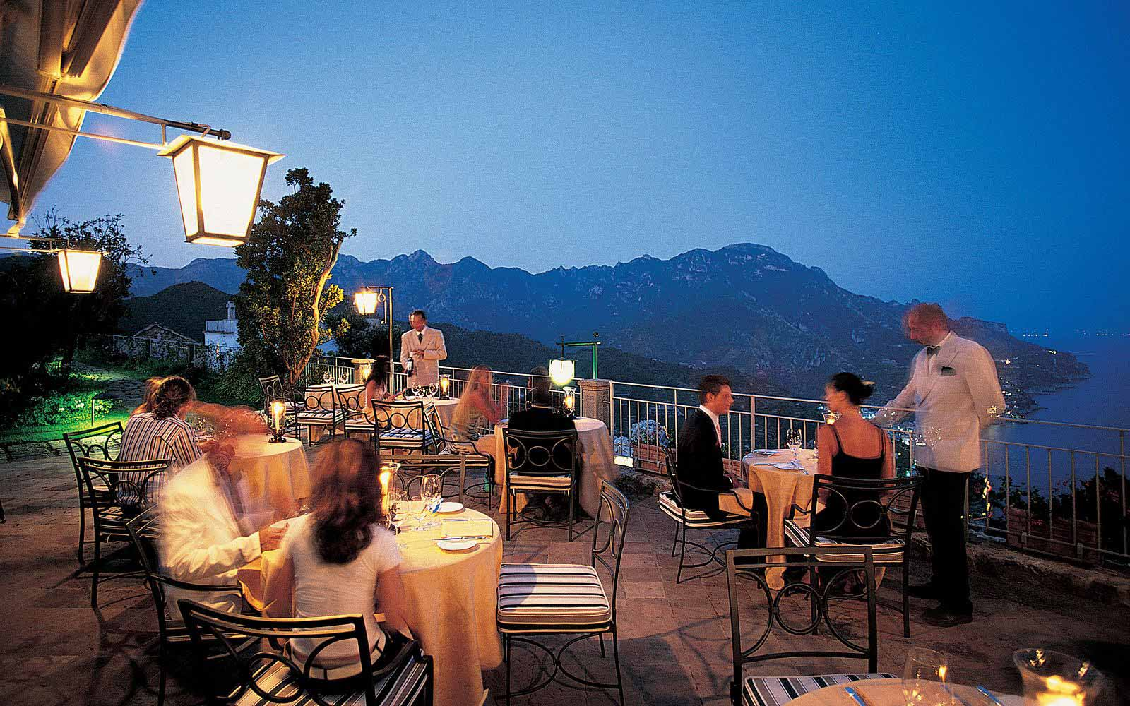 Dinner on the terrace at the Belmond Hotel Caruso