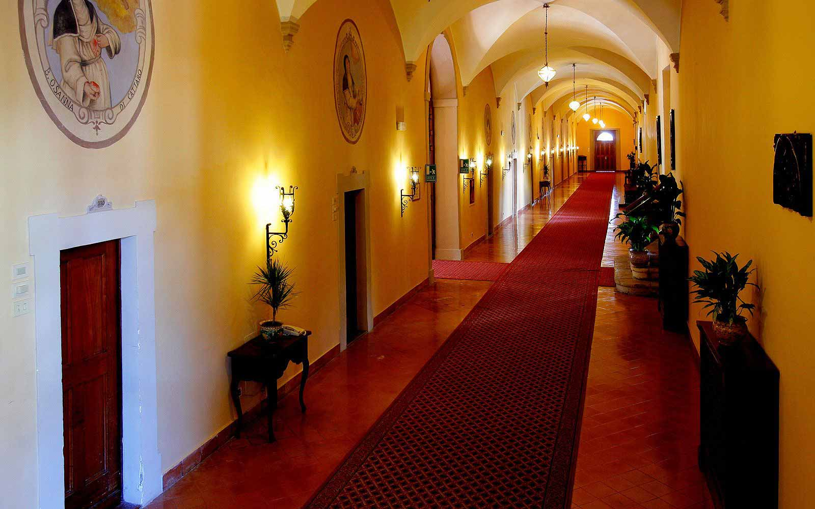 Convent corridor to rooms at the San Domenico Palace Hotel