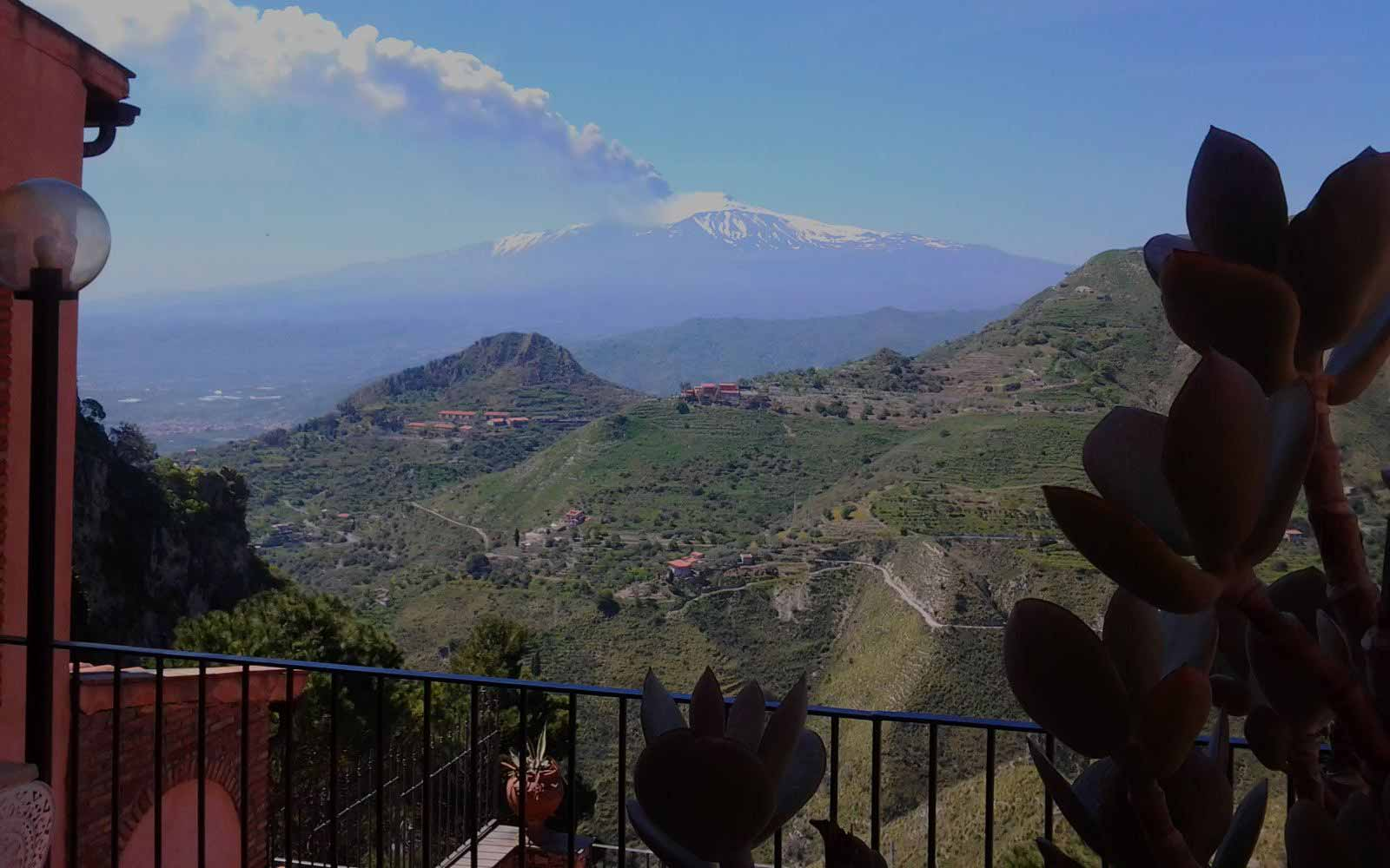 Views over Mount Etna at Villa Sonia