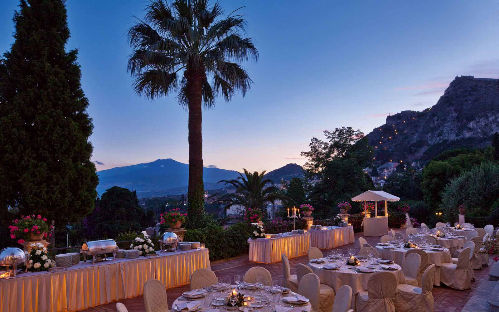 Terrace restaurant at Grand Hotel Timeo