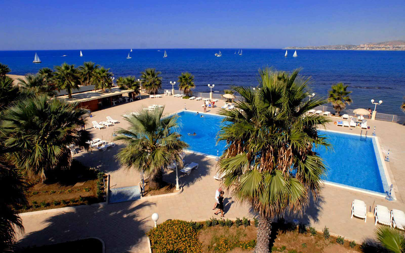 Panoramic view over the pool at Dioscuri Bay Palace