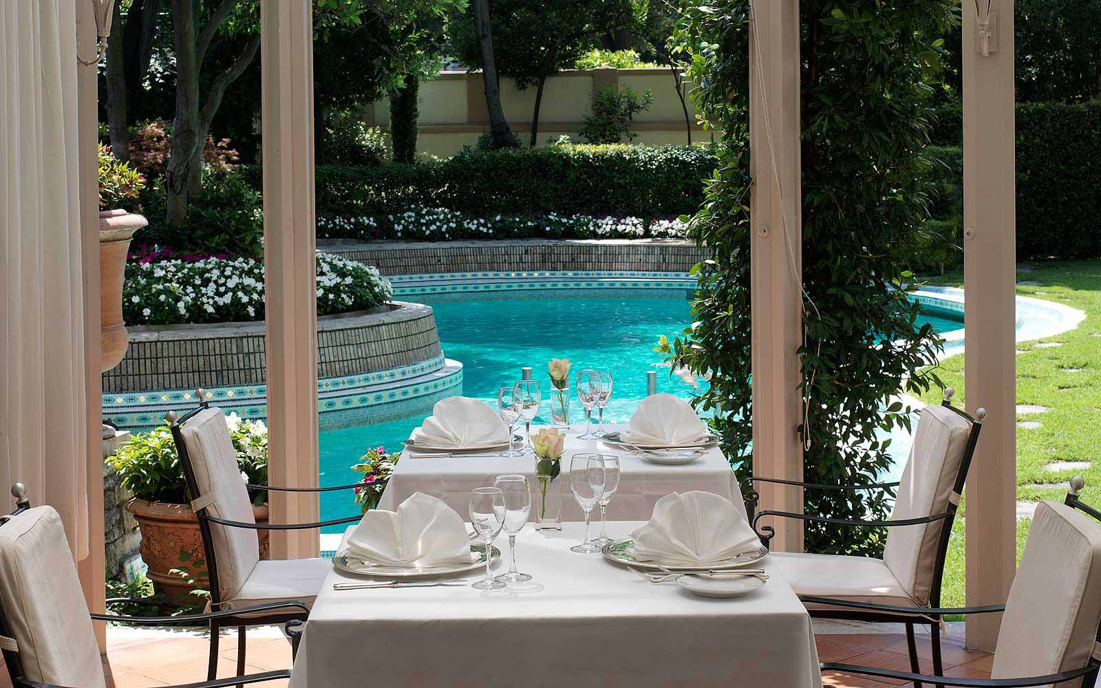 Lunch by the pool at Grand Hotel Villa Medici