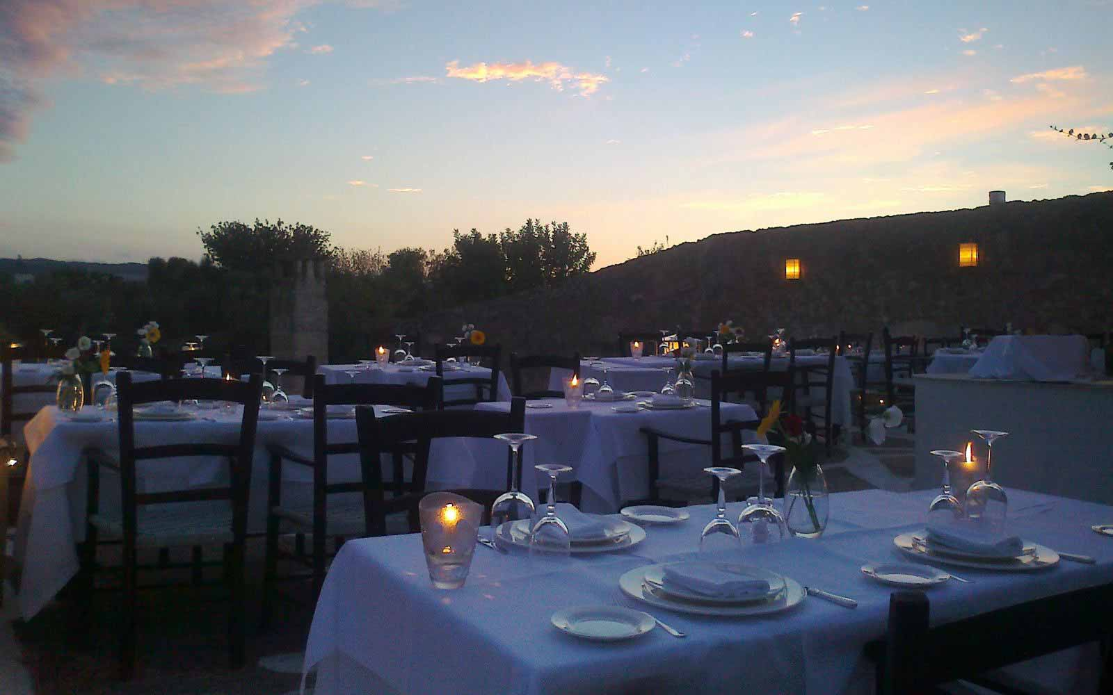 Outdoor restaurant at Masseria Torre Coccaro