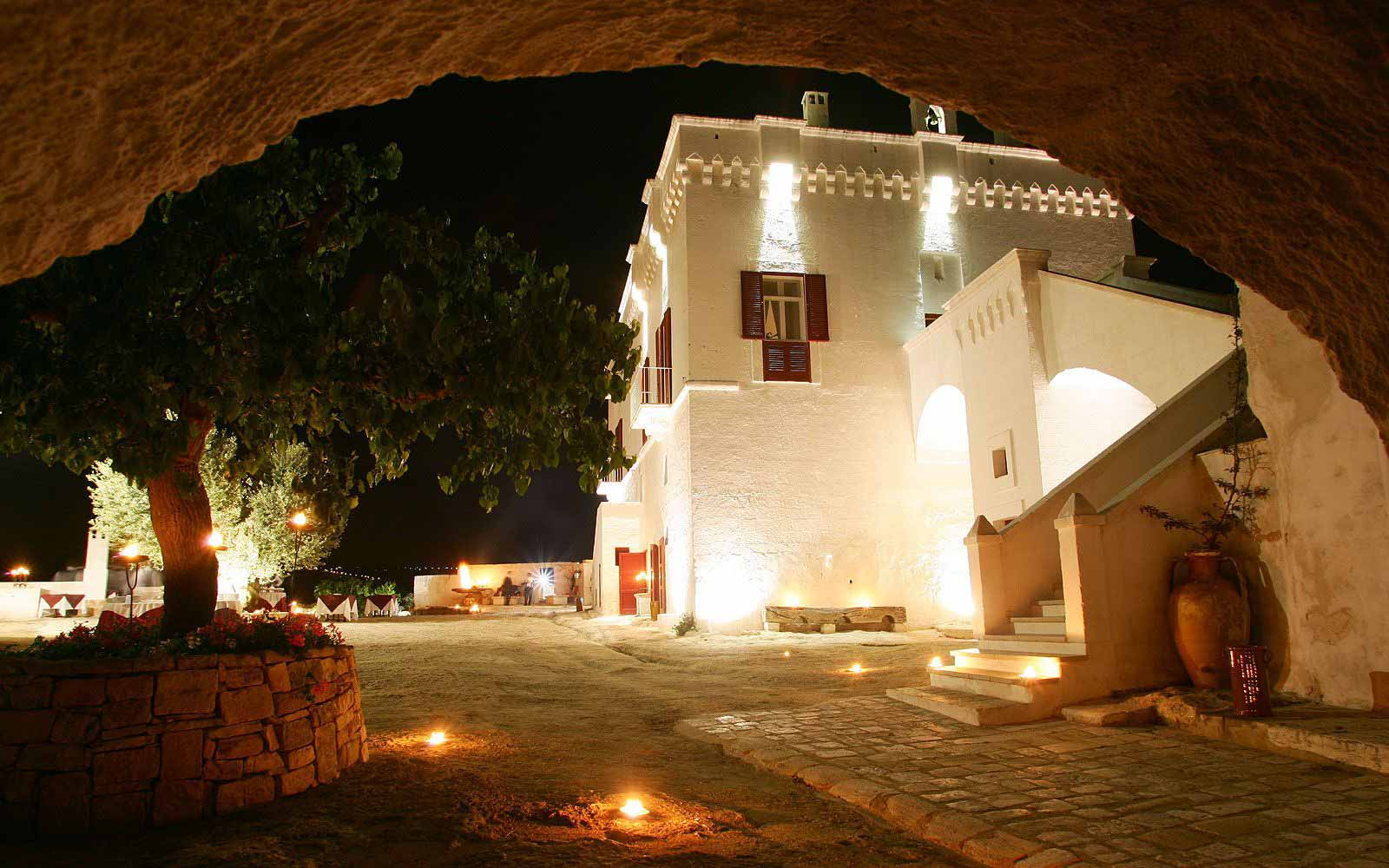 Masseria Torre Coccaro at night