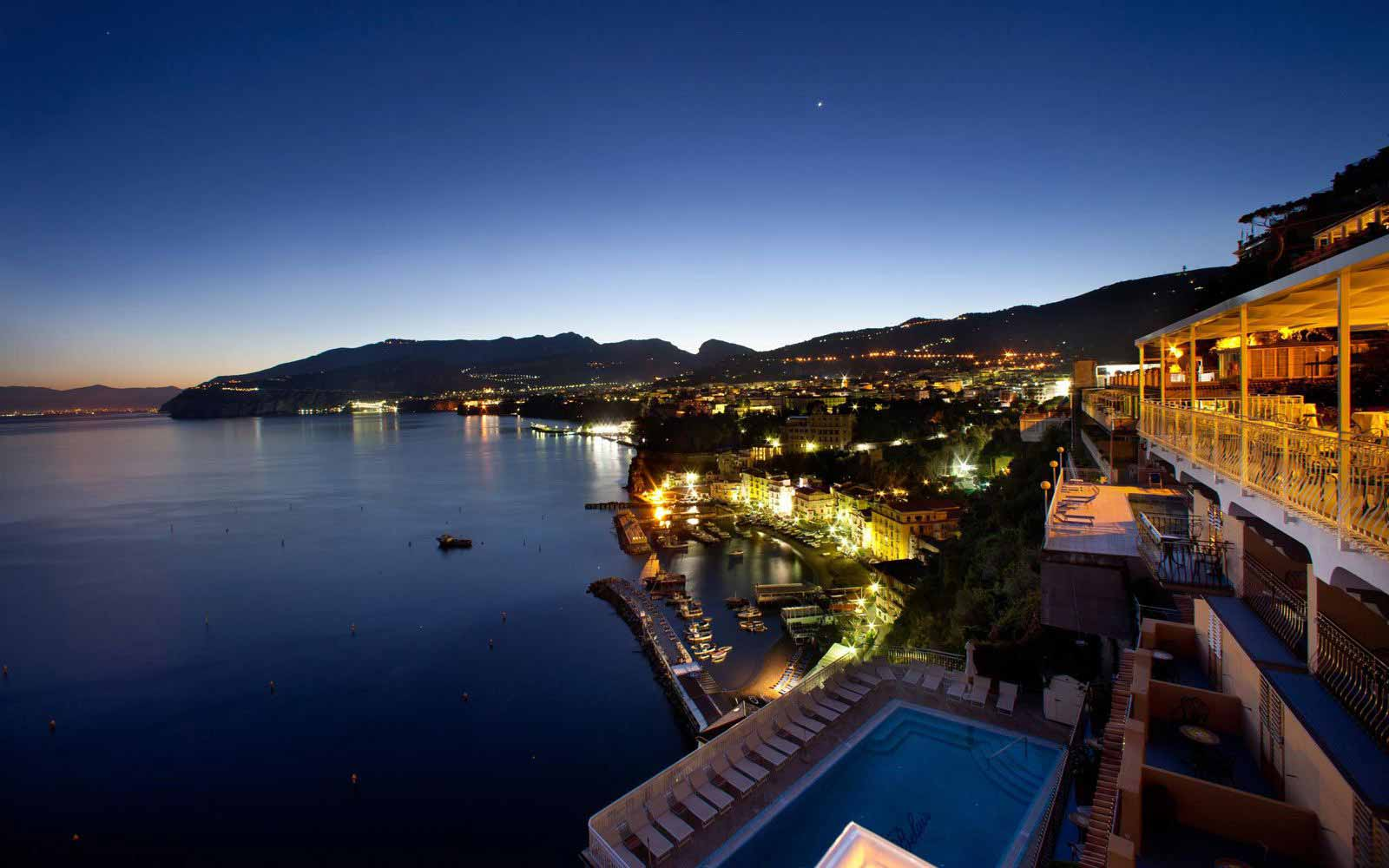 Views across the bay of Sorrento at night from Hotel Belair