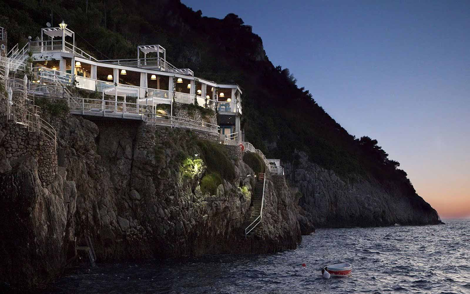 Panoramic view of Capri Palace Hotel & Spa at night