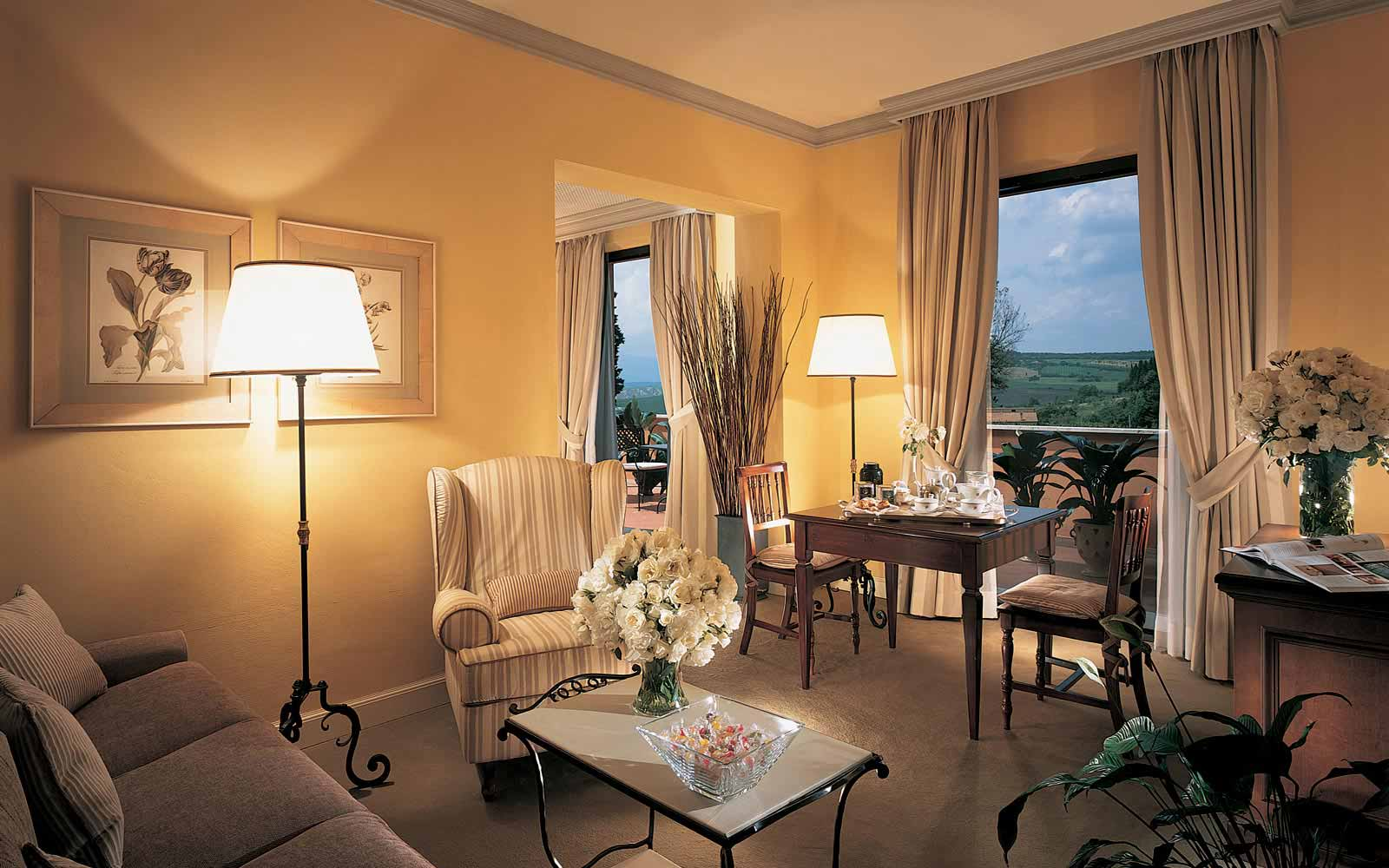 Grand suite living room and terrace at the Fonteverde