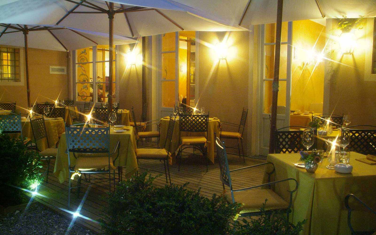 Terrace in the evening at Hotel Noblesse