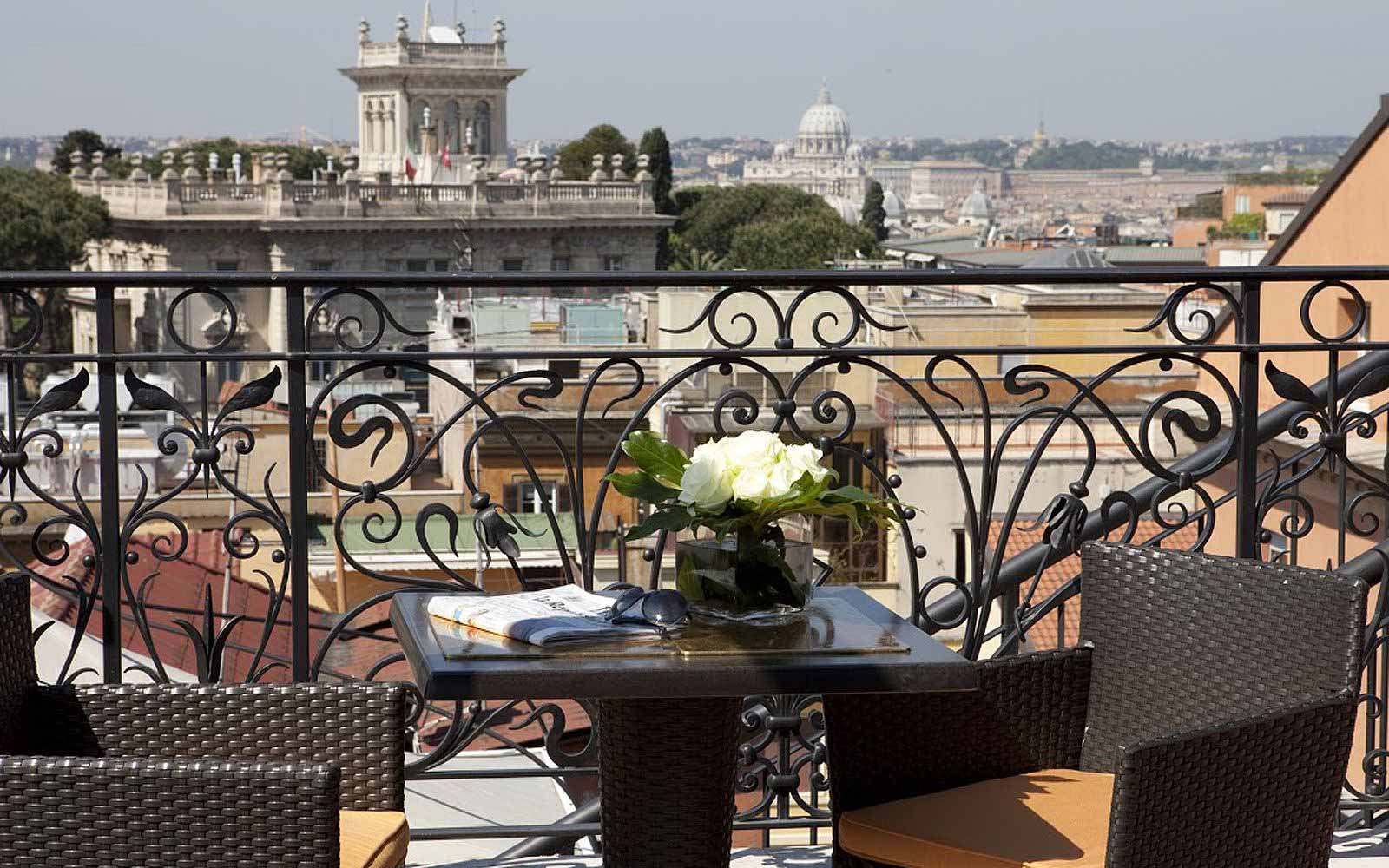 View of Rome from a terrace at Regina Hotel Baglioni