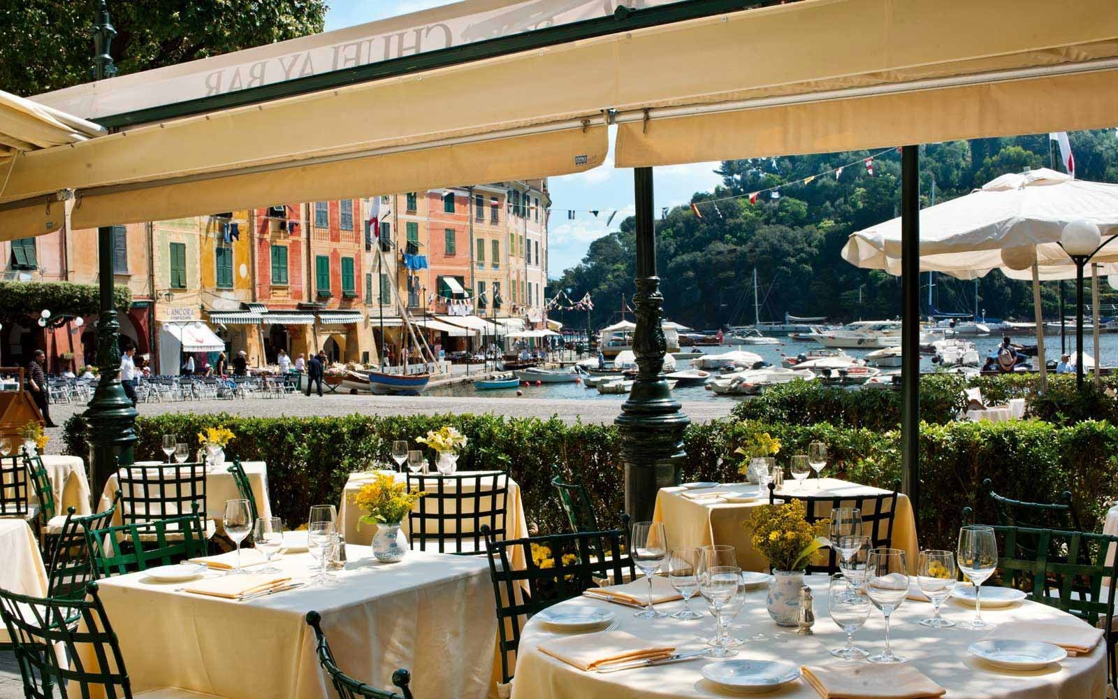 Outdoor bar at Belmond Hotel Splendido & Splendido Mare