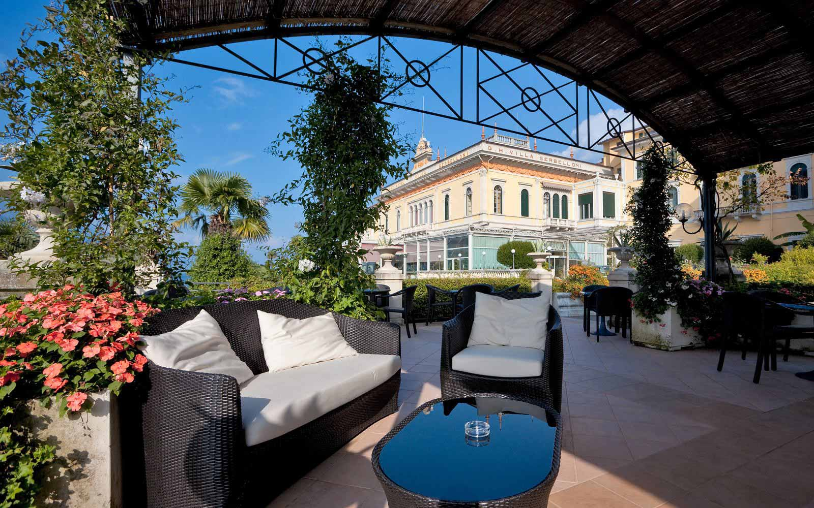 Sunny terrace at Grand Hotel Villa Serbelloni