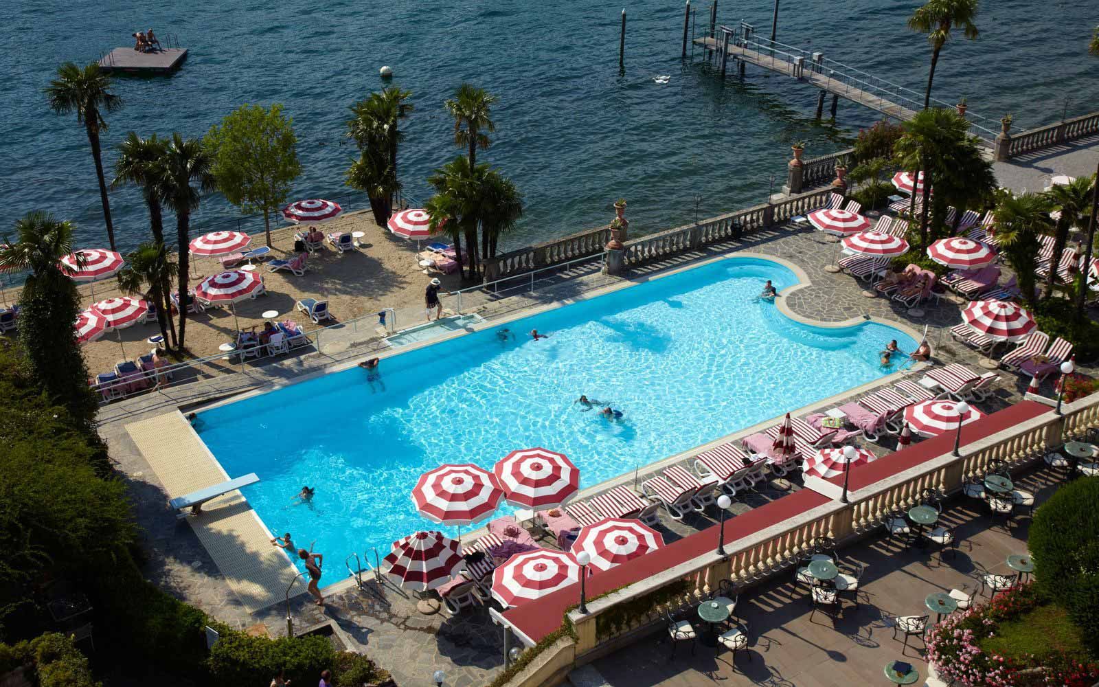 Swimming pool overlooking Lake Como at Grand Hotel Villa Serbelloni