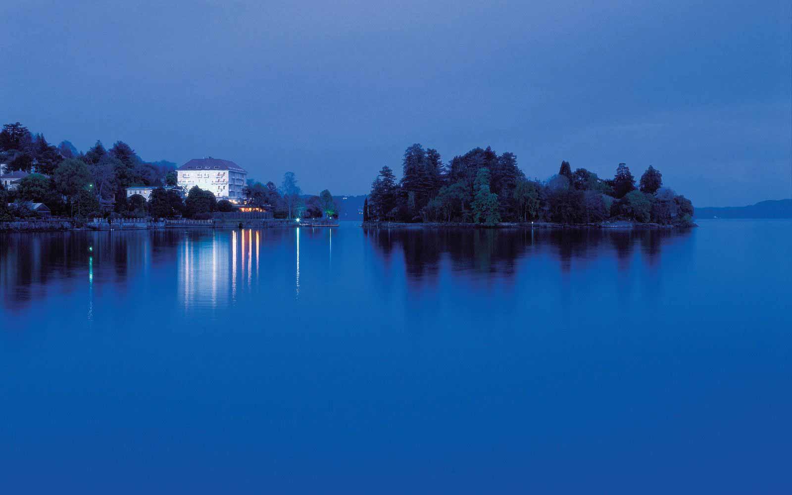 Grand Hotel Majestic seen from Lake Maggiore at night