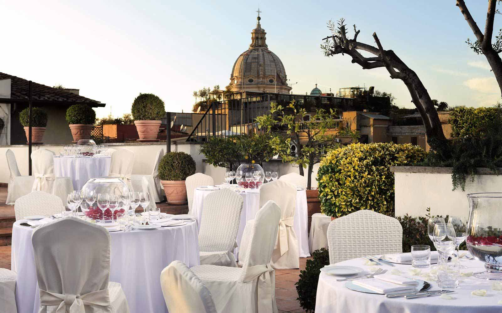 Roof terrace restaurant at Hotel D'Inghilterra