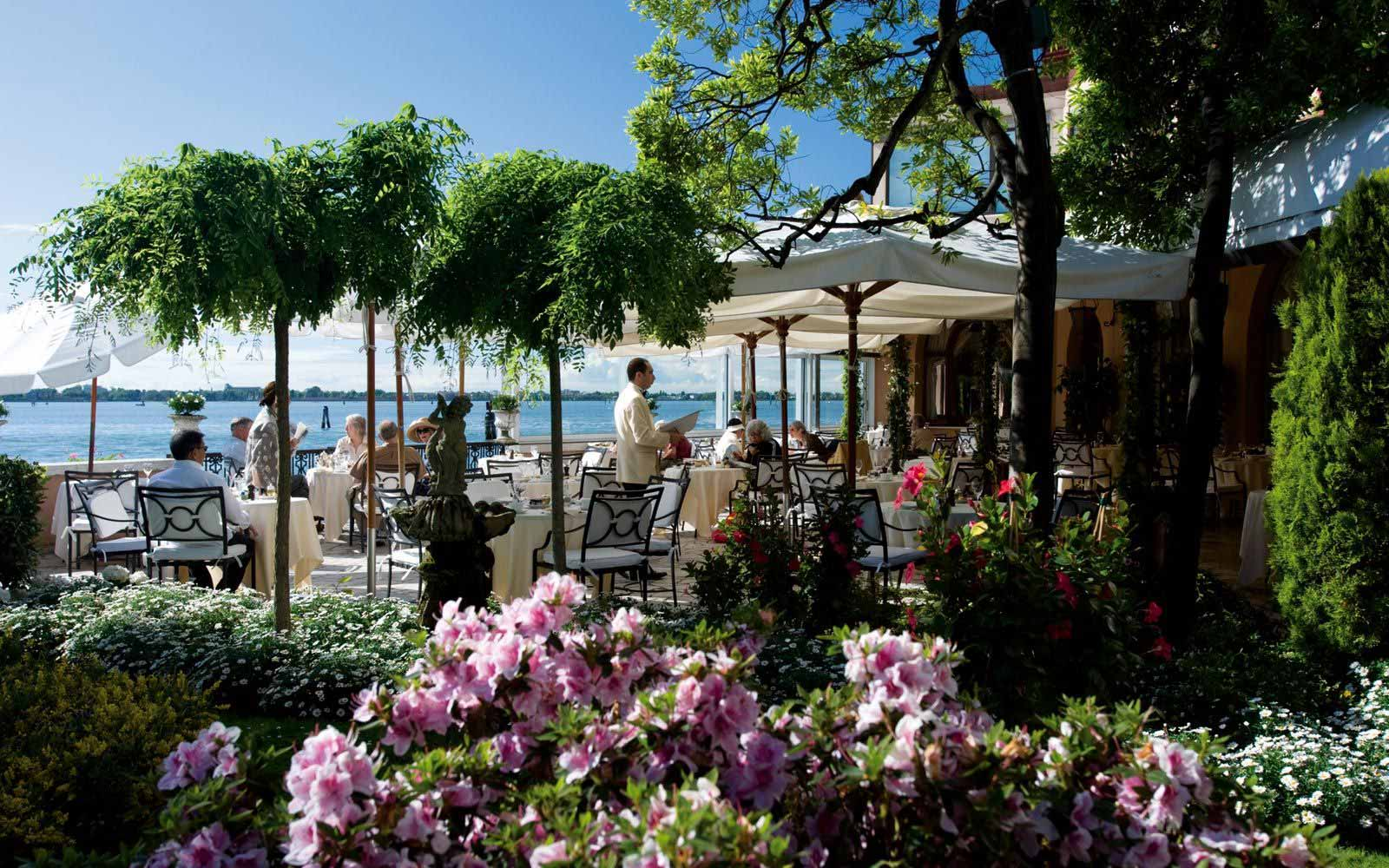 Terrace amongst the luxurious gardens at Hotel Cipriani
