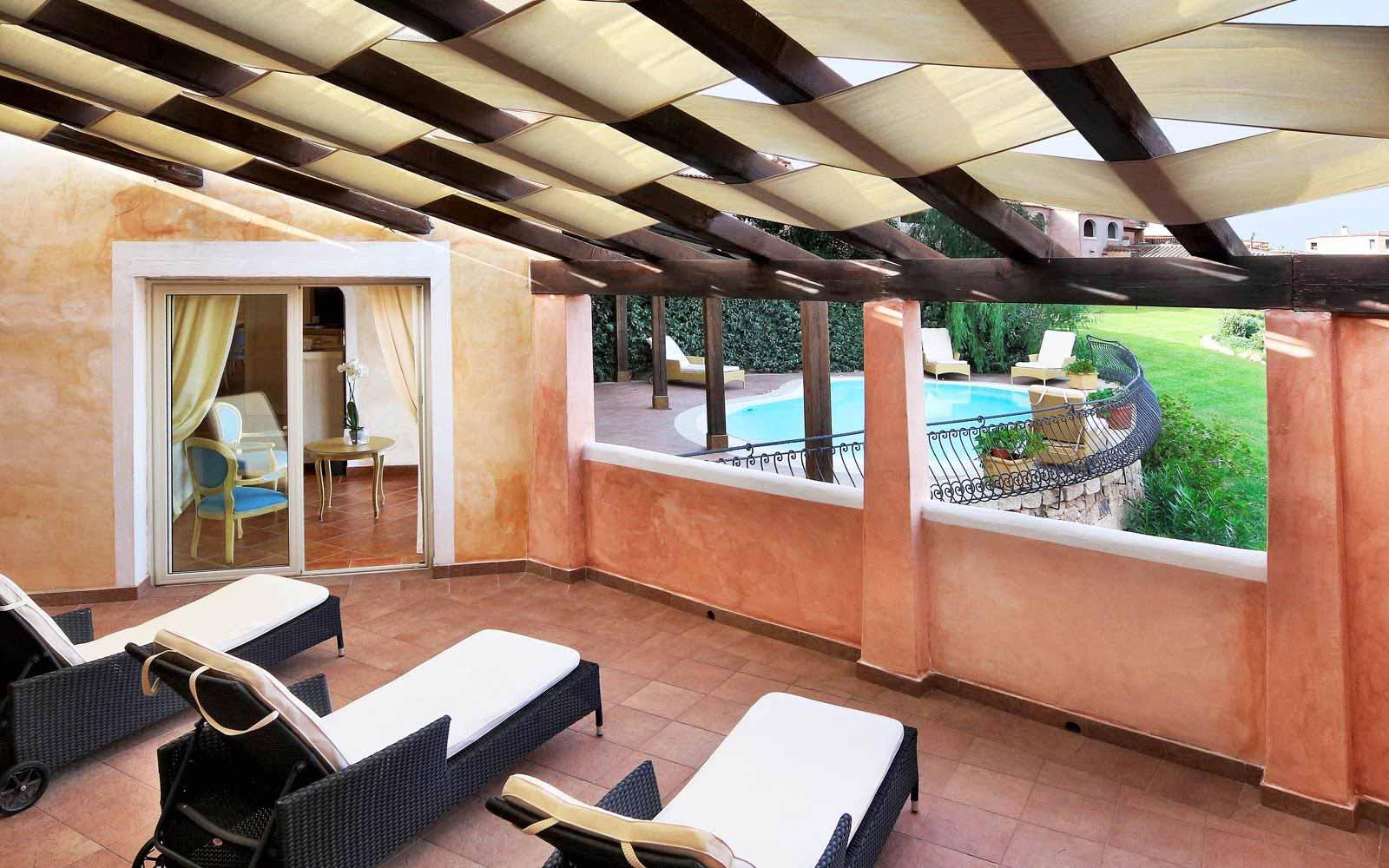 Presidential suite's veranda at Colonna Resort