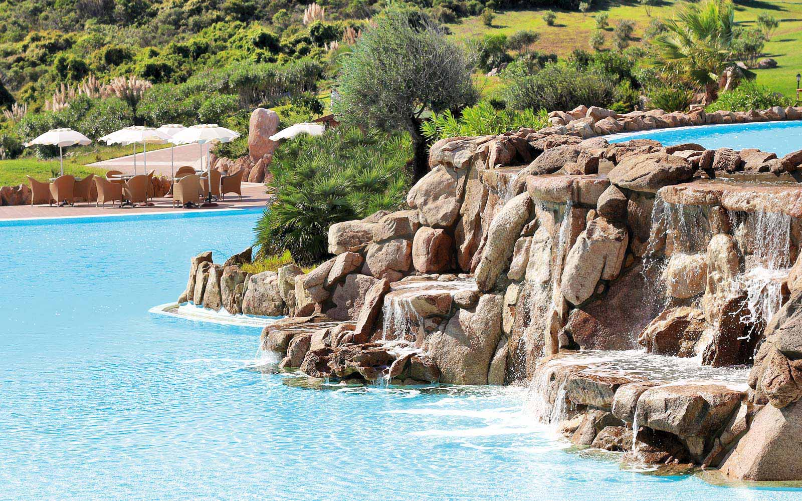 Pool with waterfalls at Colonna Resort