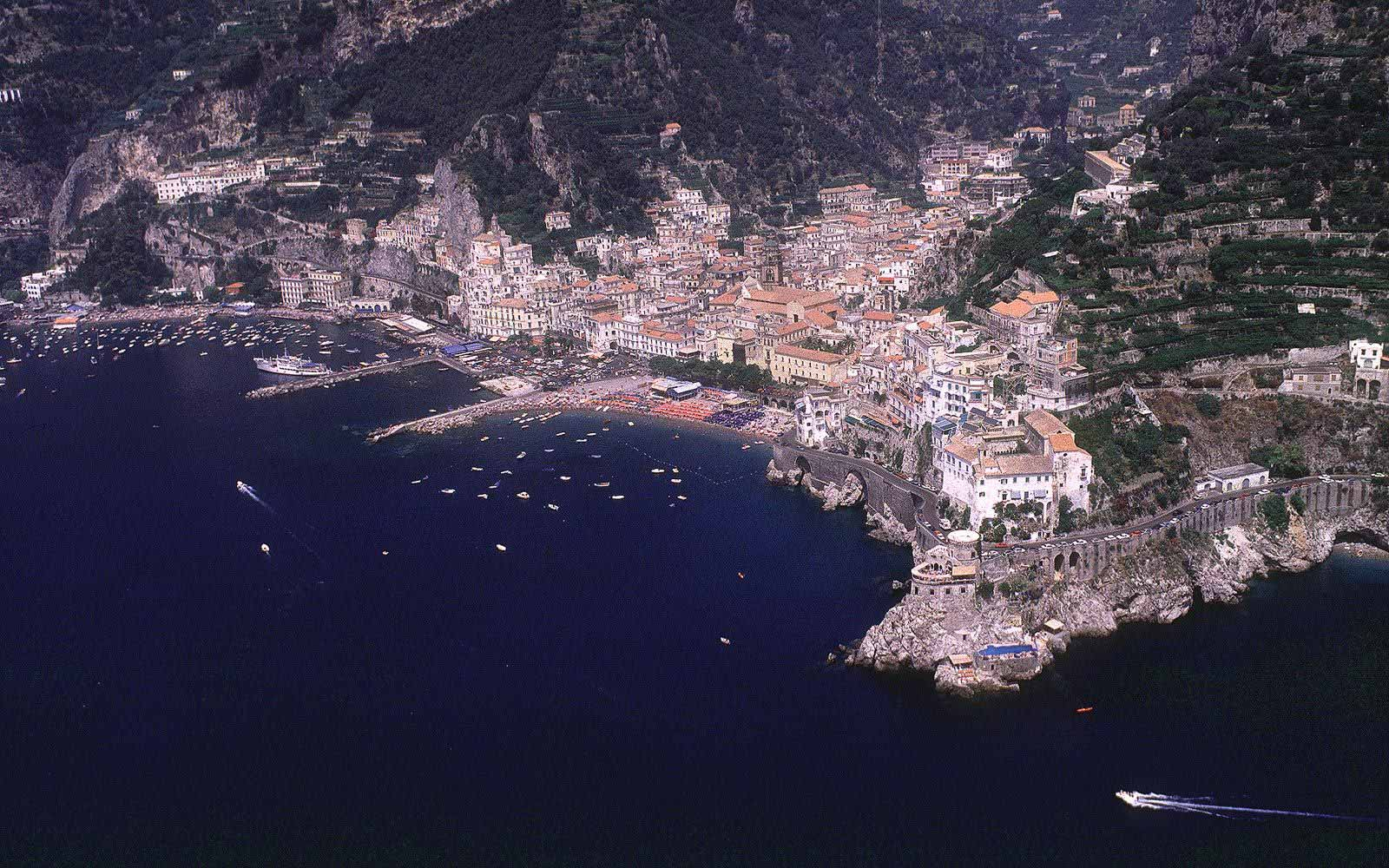 Panoramic view over Hotel Luna Convento and Amalfi