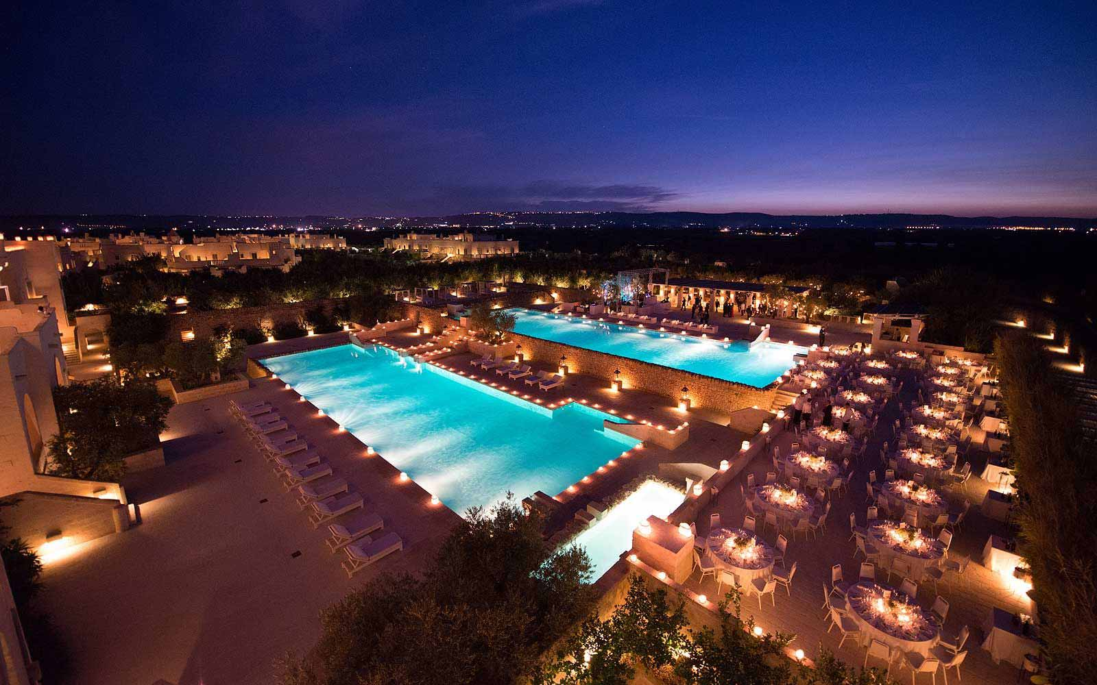 Nighttime panoramic view of the Borgo Egnazia