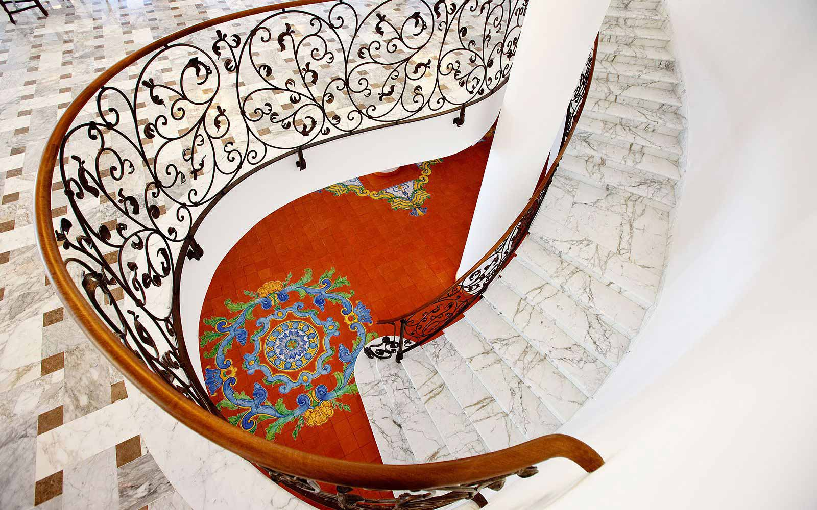 Internal staircase at the Grand Hotel La Favorita