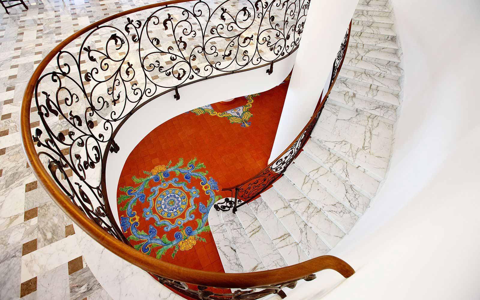Internal staircase at the Grand Hotel La Favorita