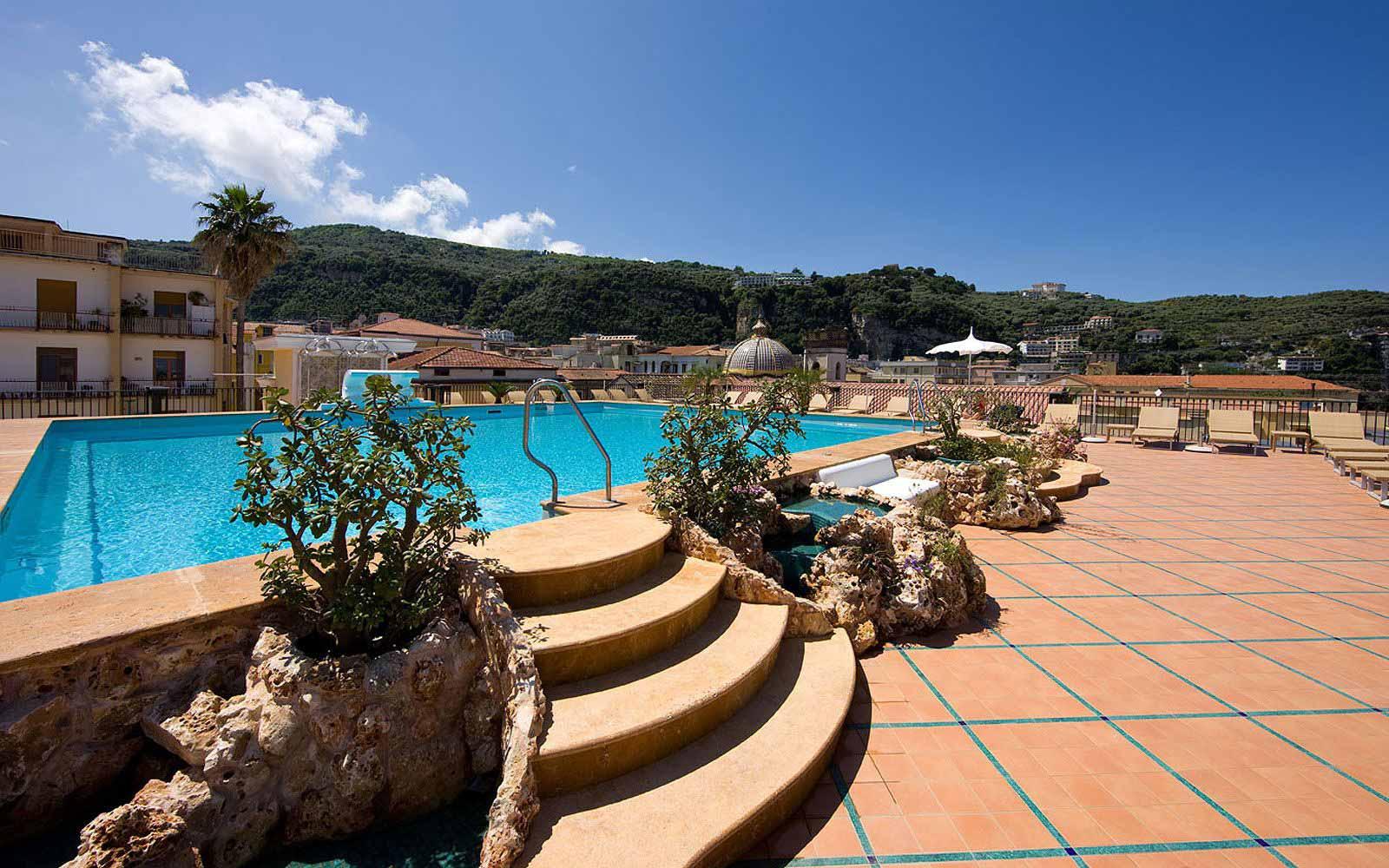Rooftop swimming pool at the Grand Hotel La Favorita