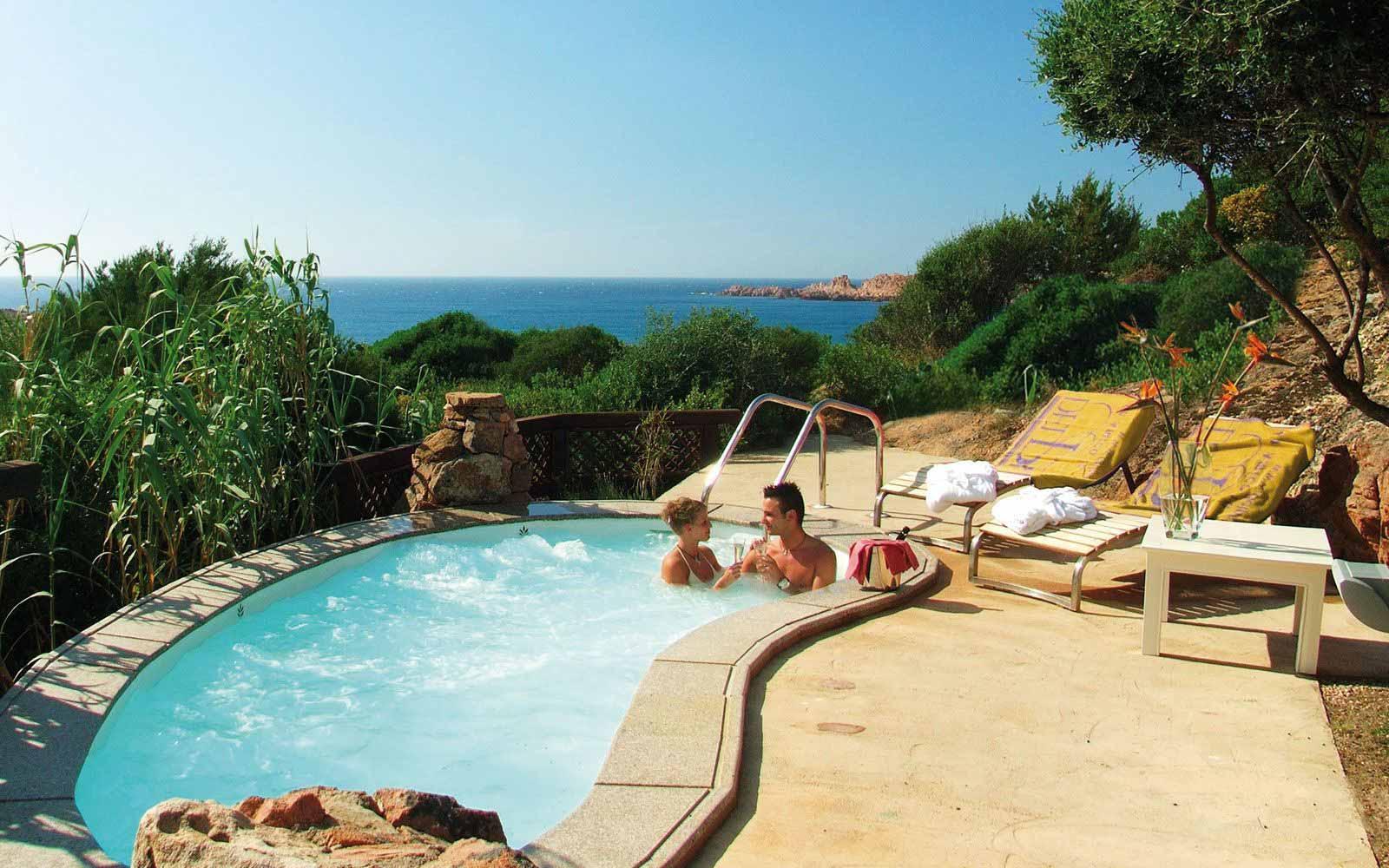 Private sea water pool in the Executive Elicrisco room at  Hotel Marinedda Thalasso & Spa