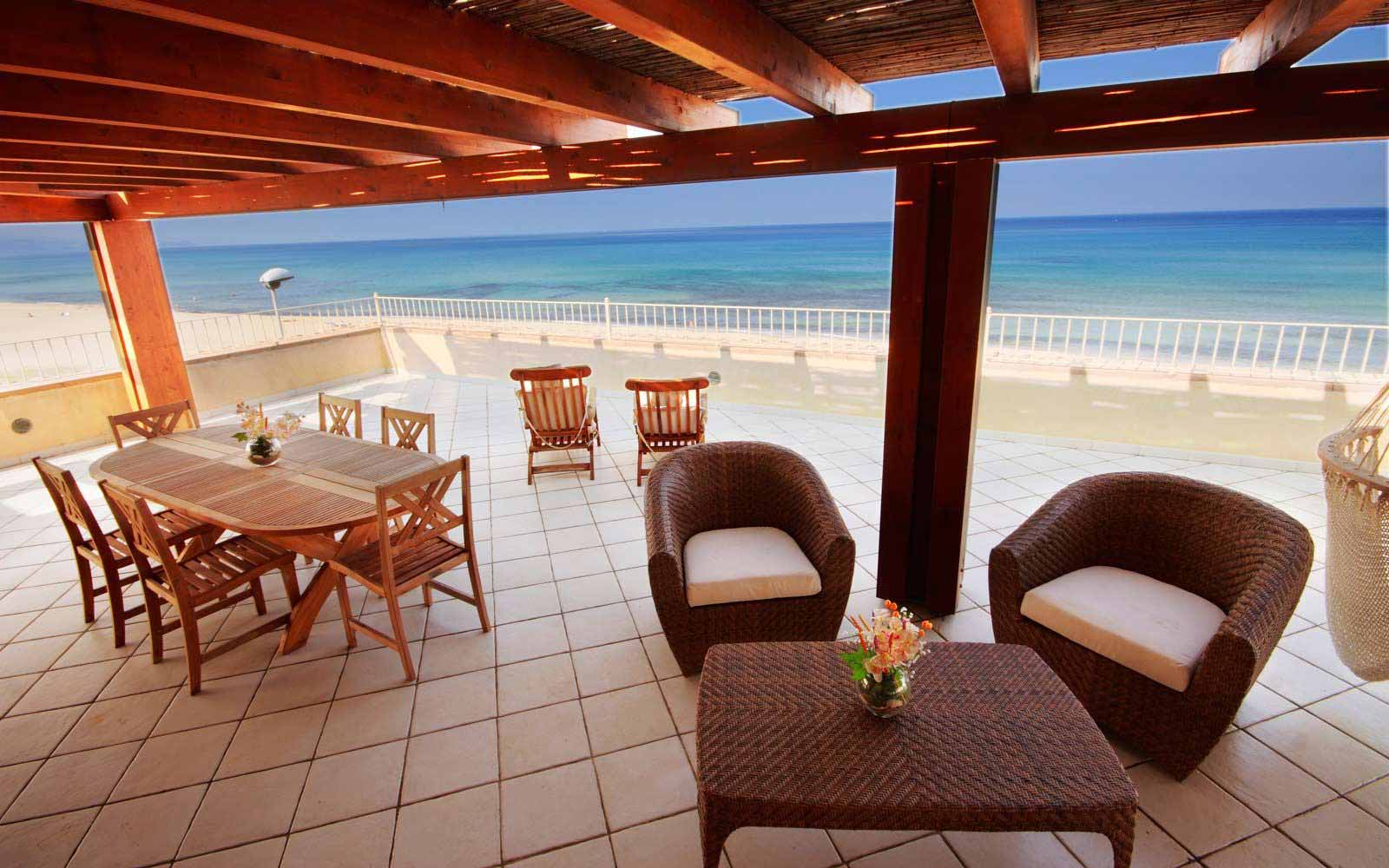 Private terrace overlooking the sea at Hotel Duna Bianca