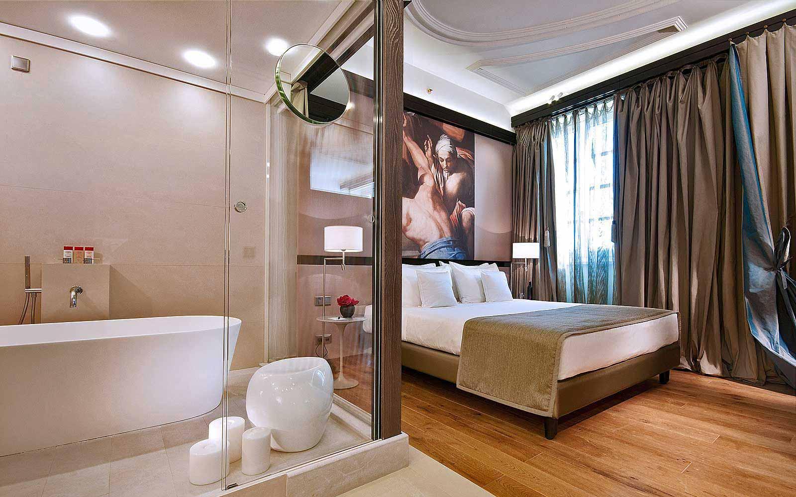 A premium city view room at Gran Melia' Rome