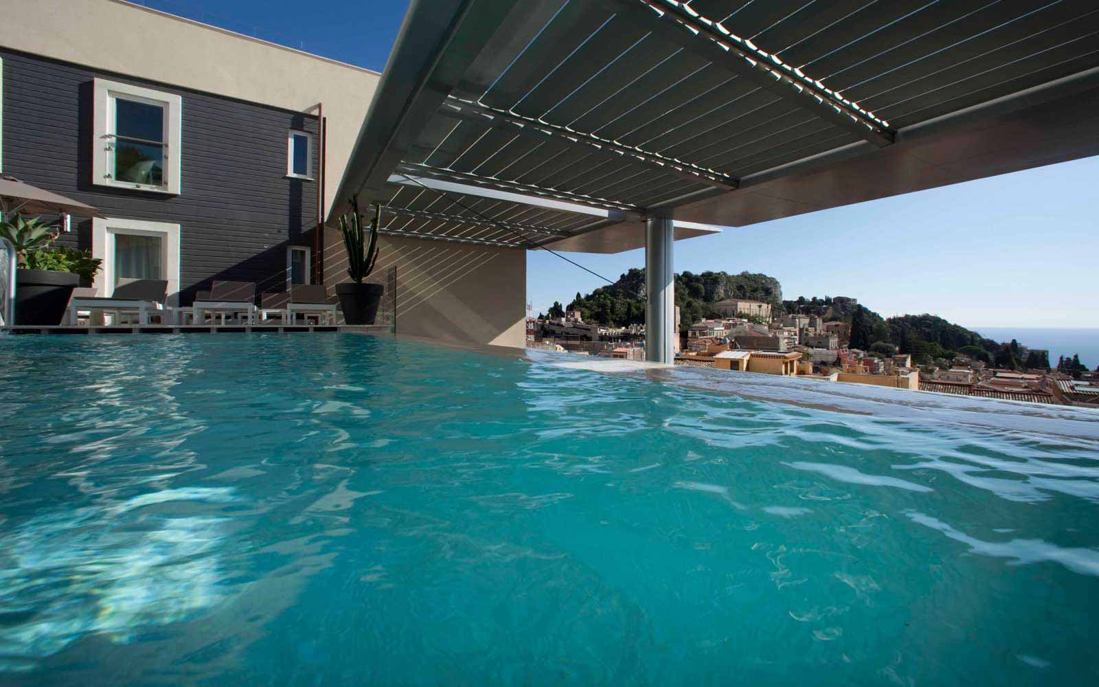 Infinity swimming pool at NH Collection Taormina