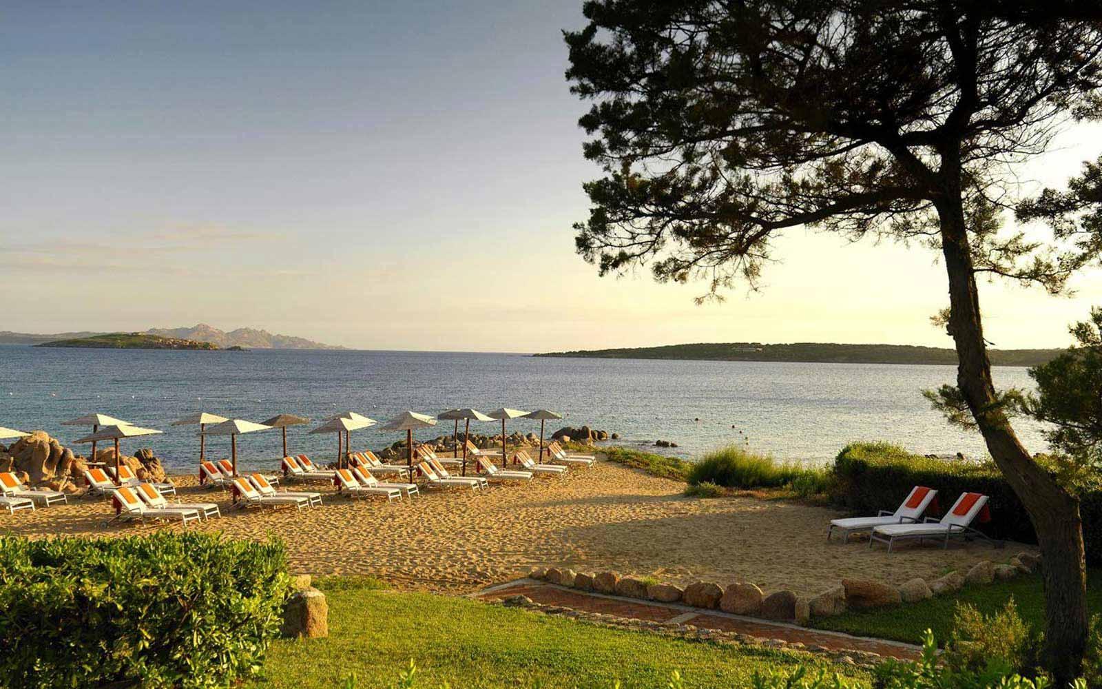 Private beach at Hotel Pitrizza