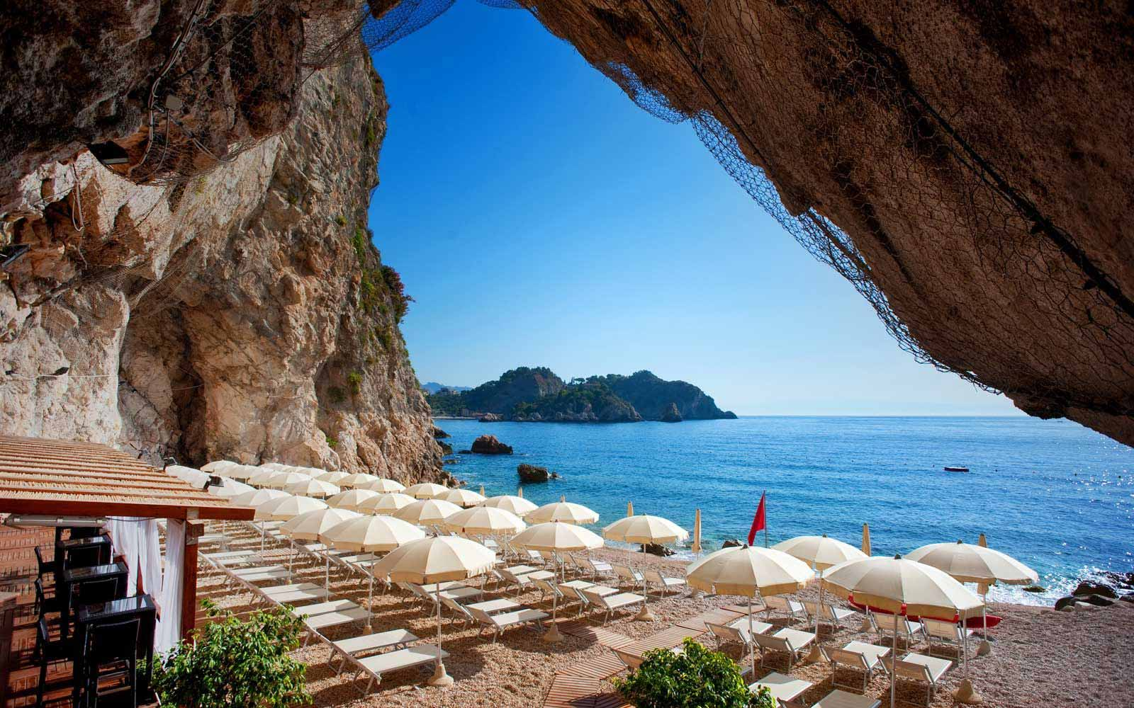 Beach cave at Atahotel Capotaormina