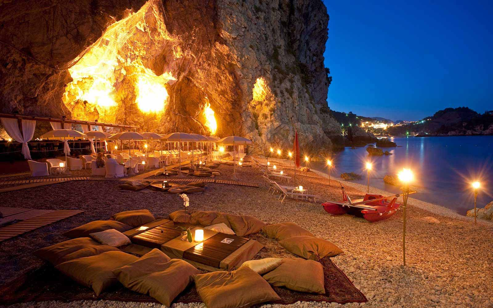 Beach cave at night at Atahotel Capotaormina