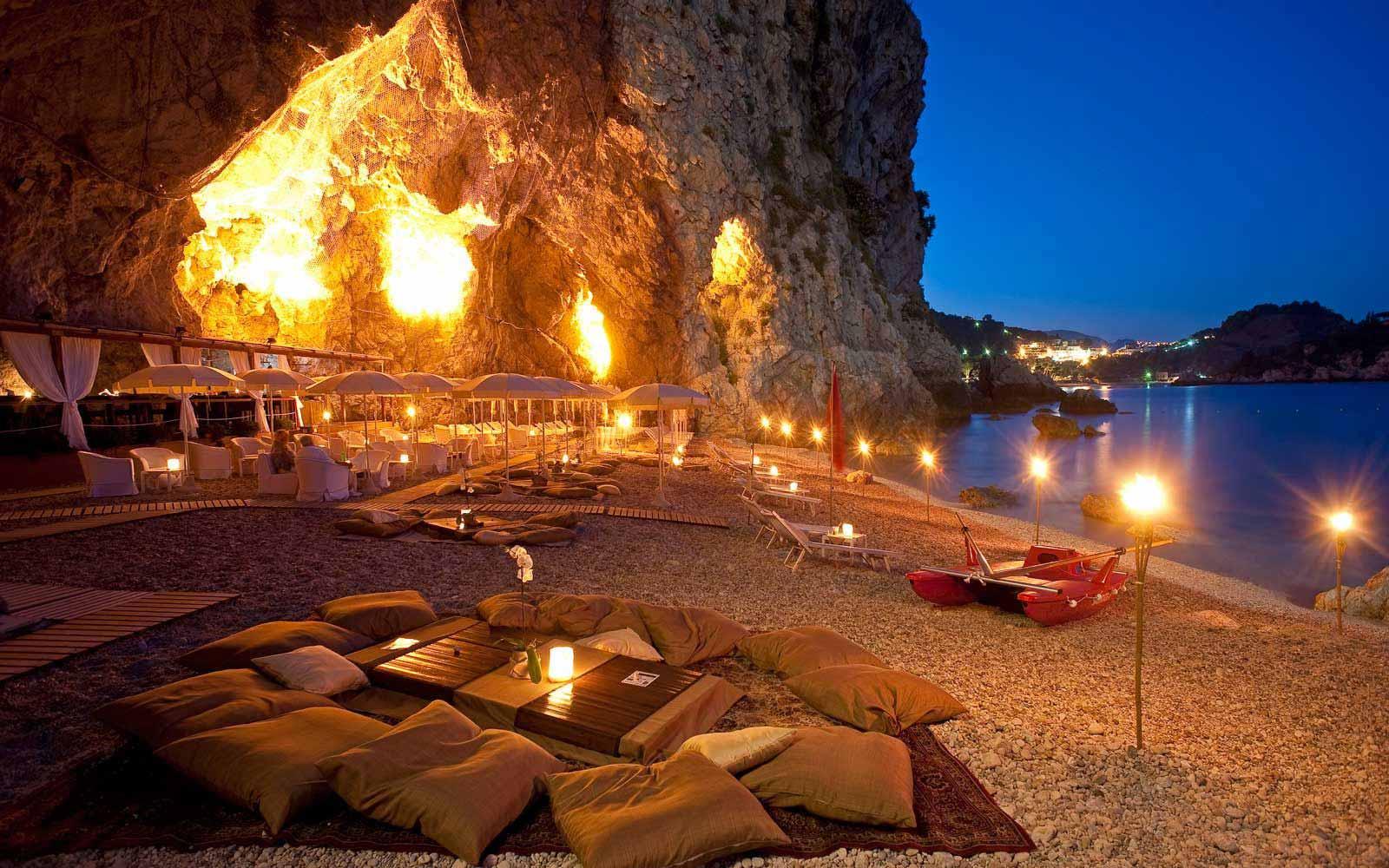 Beach cave at night at Atahotel Capotaormina