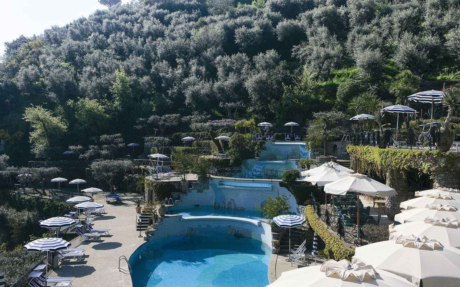 Cascading swimming pool at the Grand Hotel Capodimonte