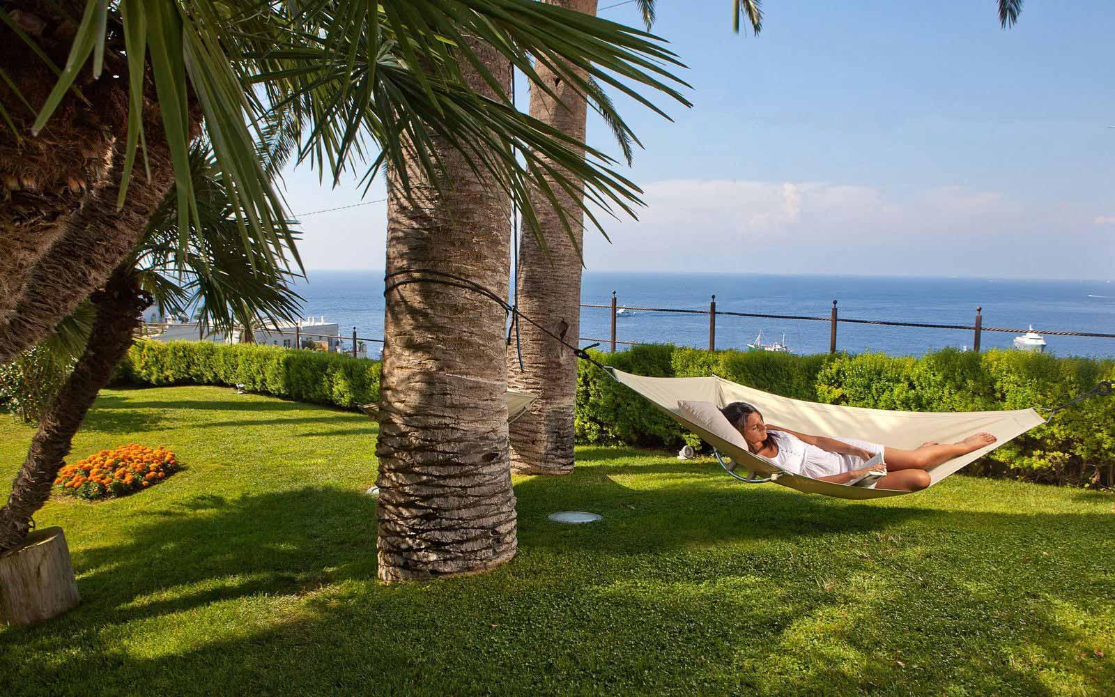 Relaxing in the shade at Villa Marini Capri Hotel & Spa
