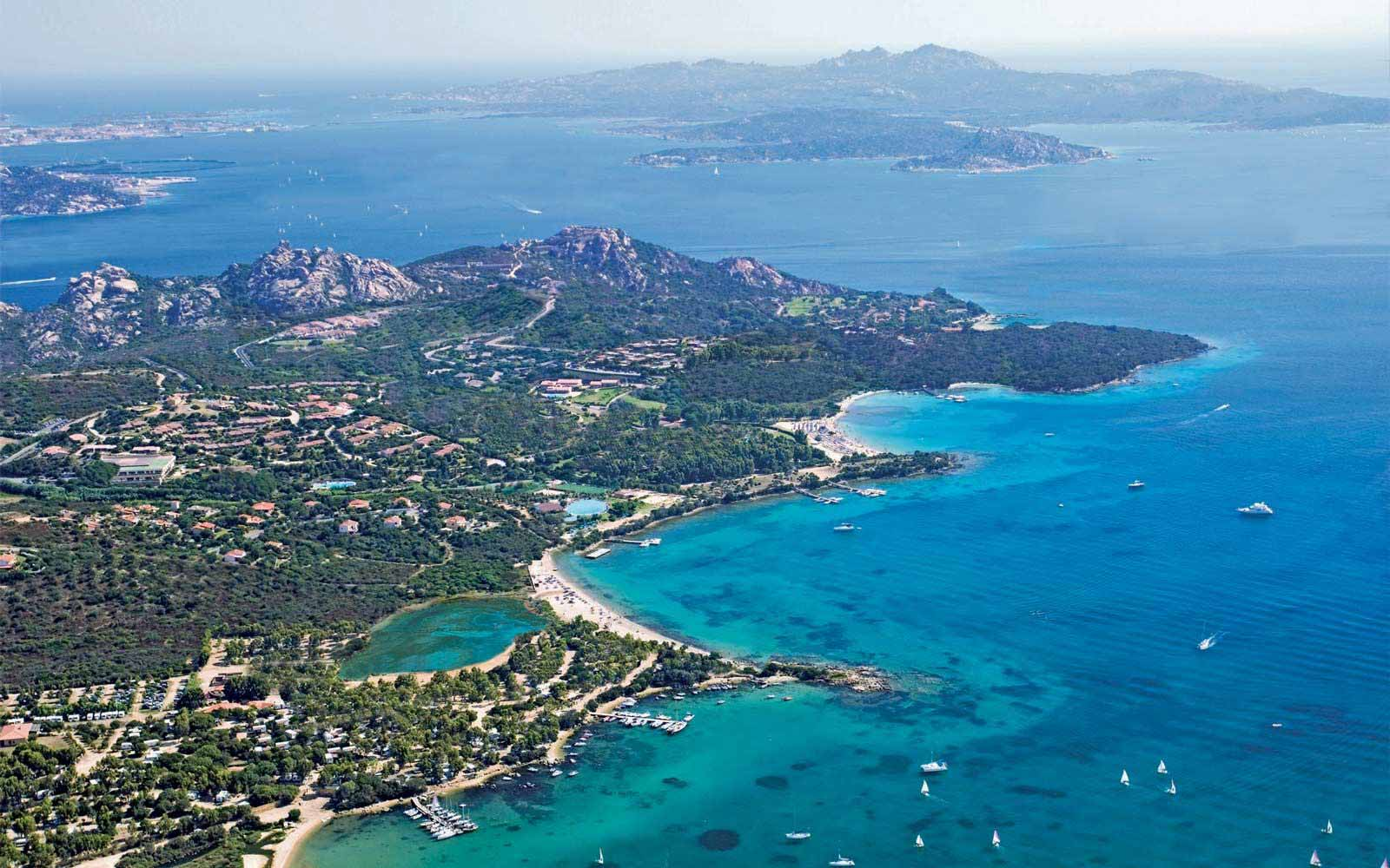 Bird's eye view of Palau and the Northern coast of Sardinia