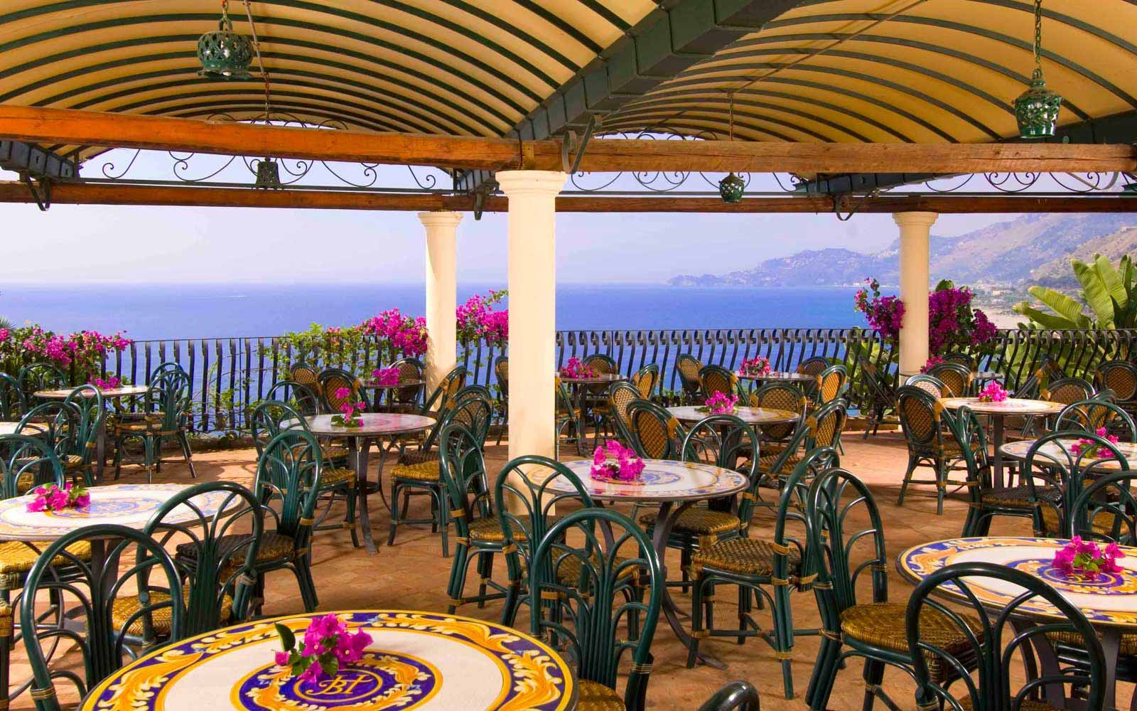 Terrace restaurant at Hotel Baia Taormina