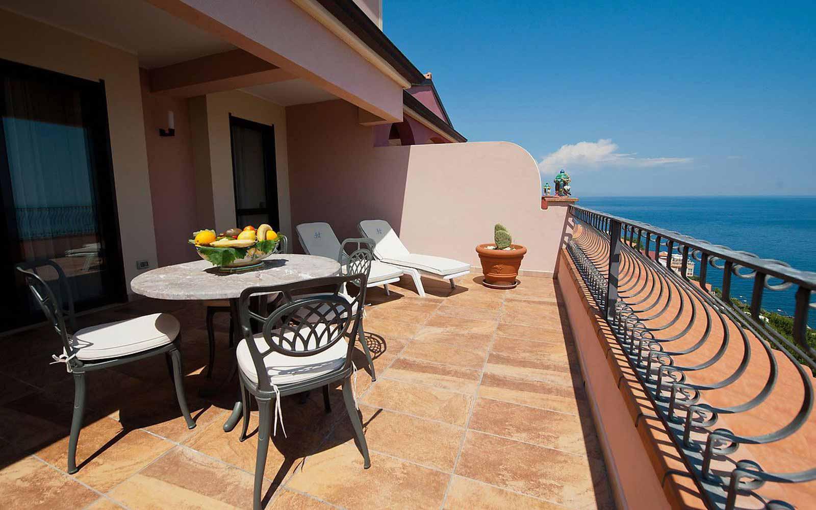 Private terrace at Hotel Baia Taormina