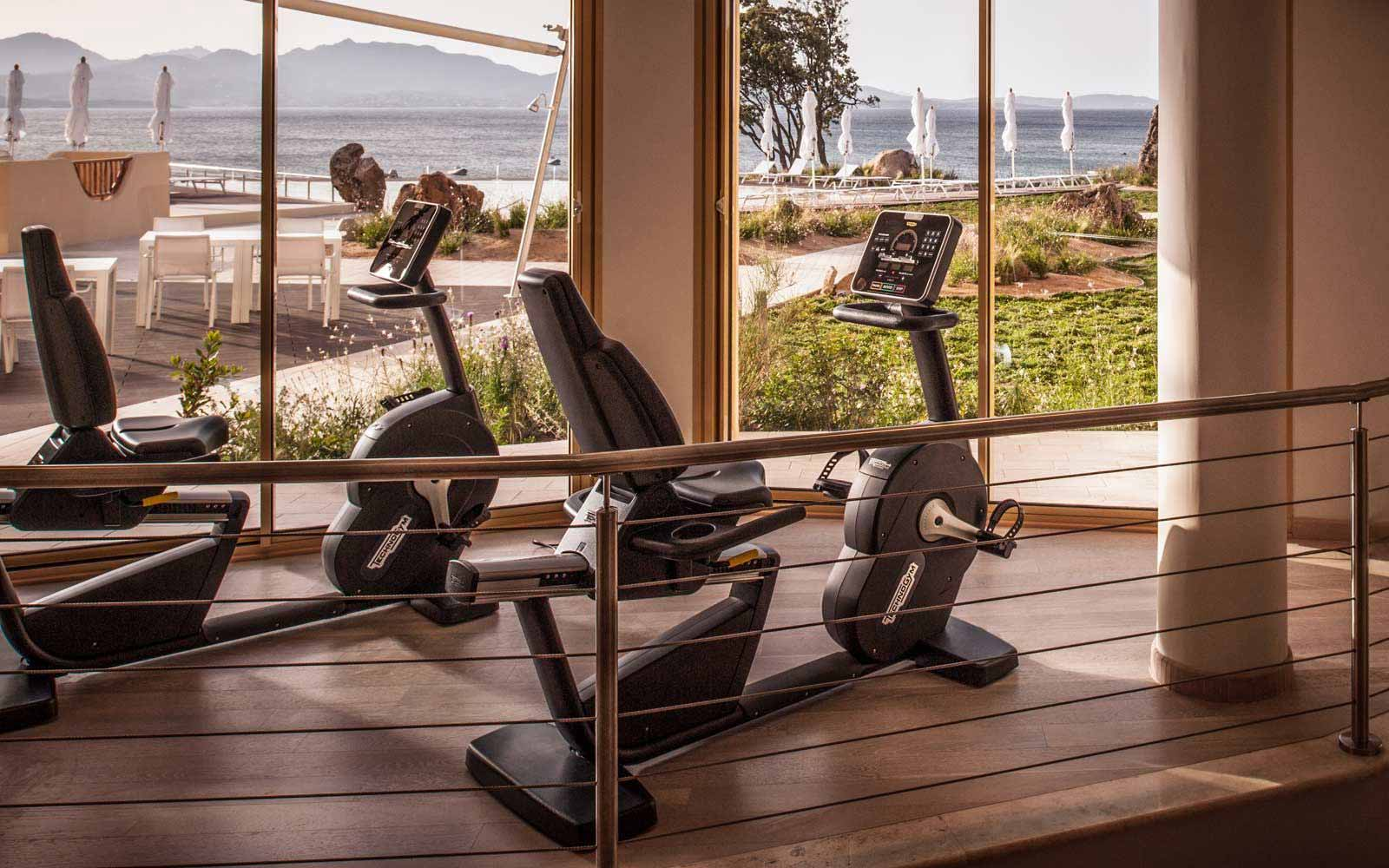 Fitness room at Hotel CalaCuncheddi