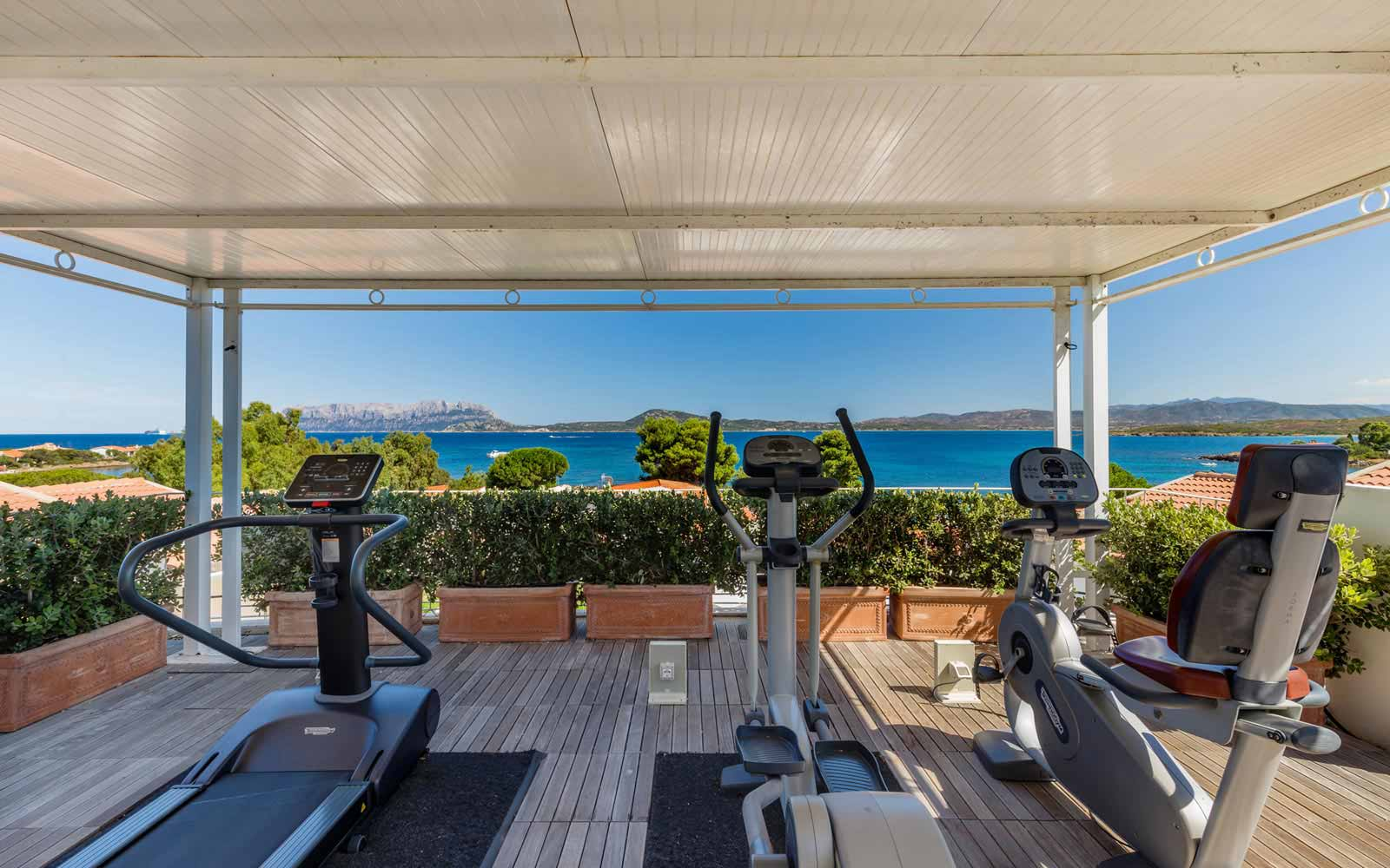 Fitness terrace at the Pelican Beach Resort & Spa