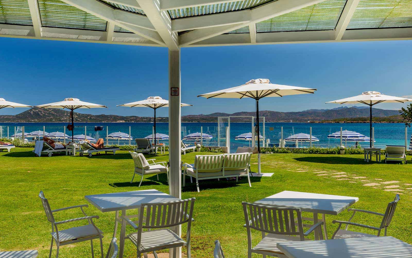 Restaurant terrace at the Pelican Beach Resort & Spa